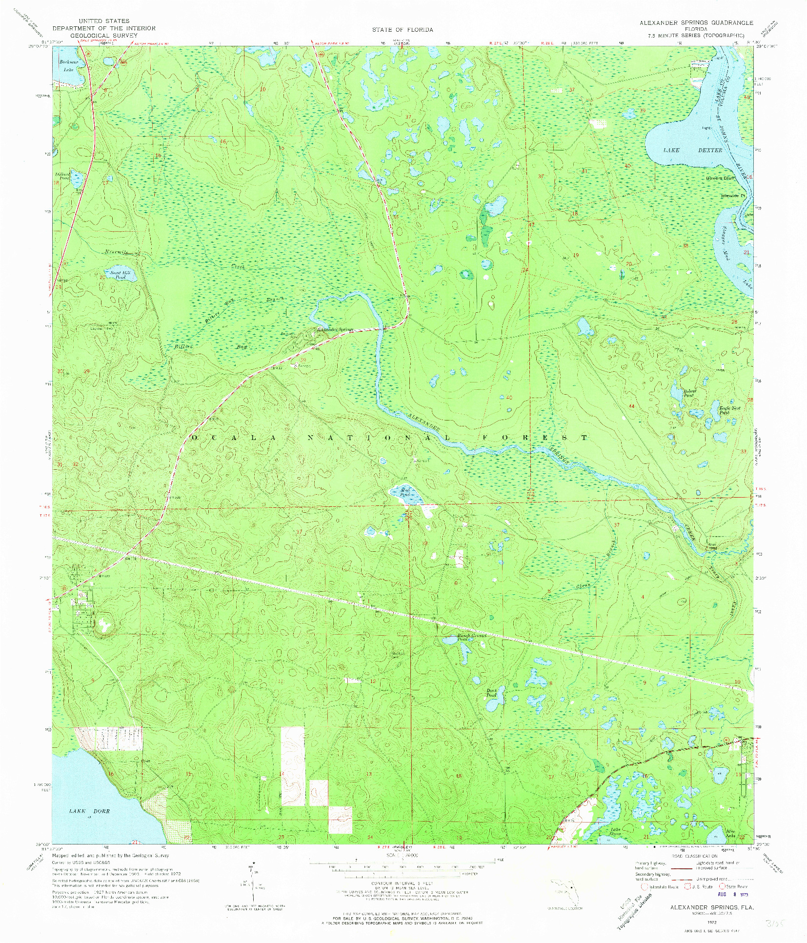 USGS 1:24000-SCALE QUADRANGLE FOR ALEXANDER SPRINGS, FL 1972