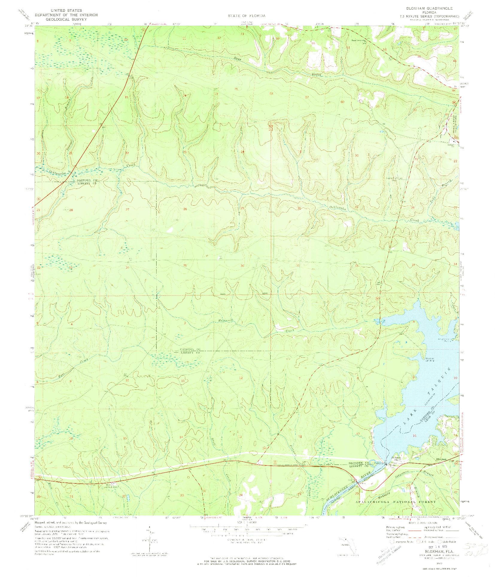 USGS 1:24000-SCALE QUADRANGLE FOR BLOXHAM, FL 1972