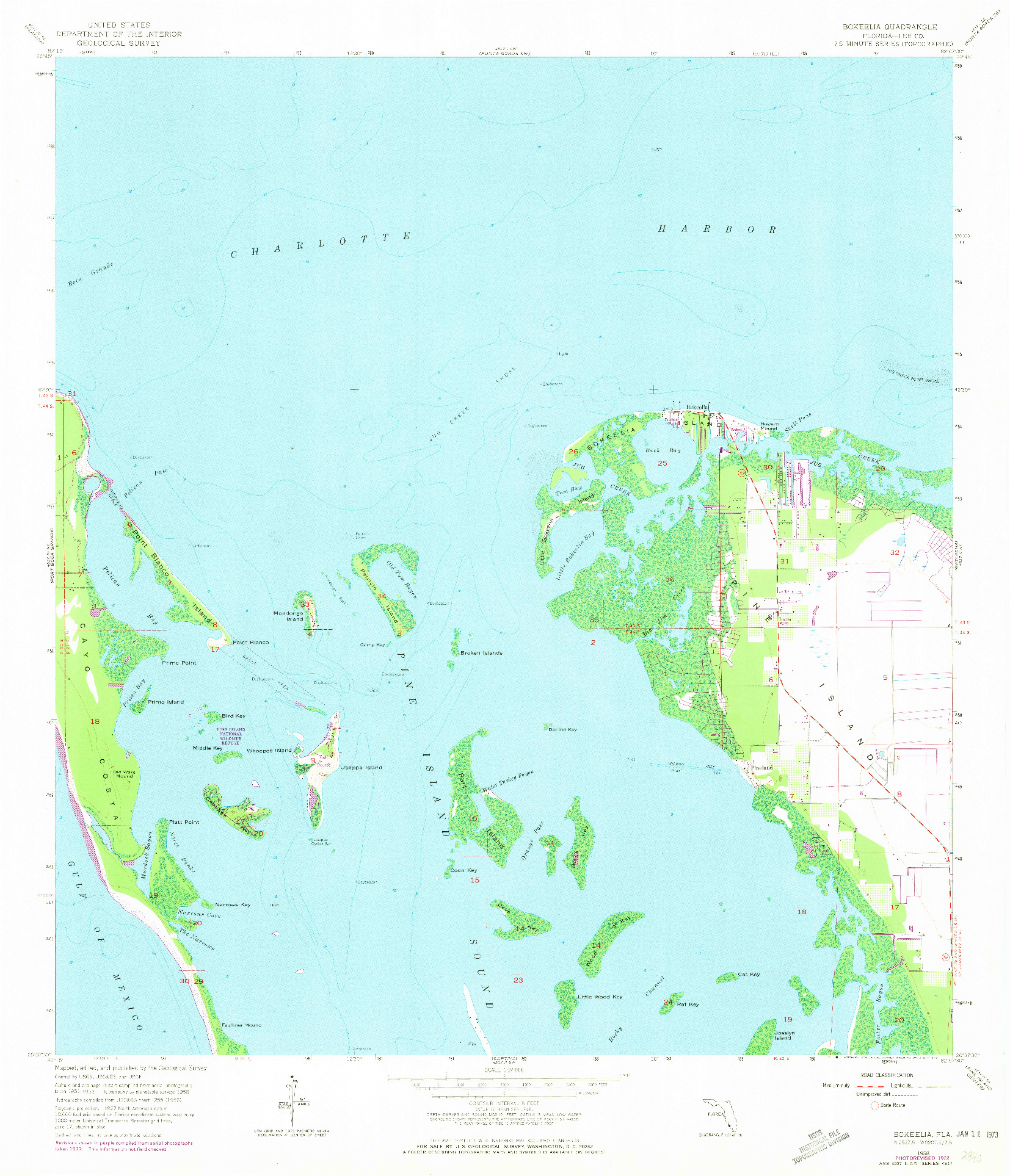 USGS 1:24000-SCALE QUADRANGLE FOR BOKEELIA, FL 1958