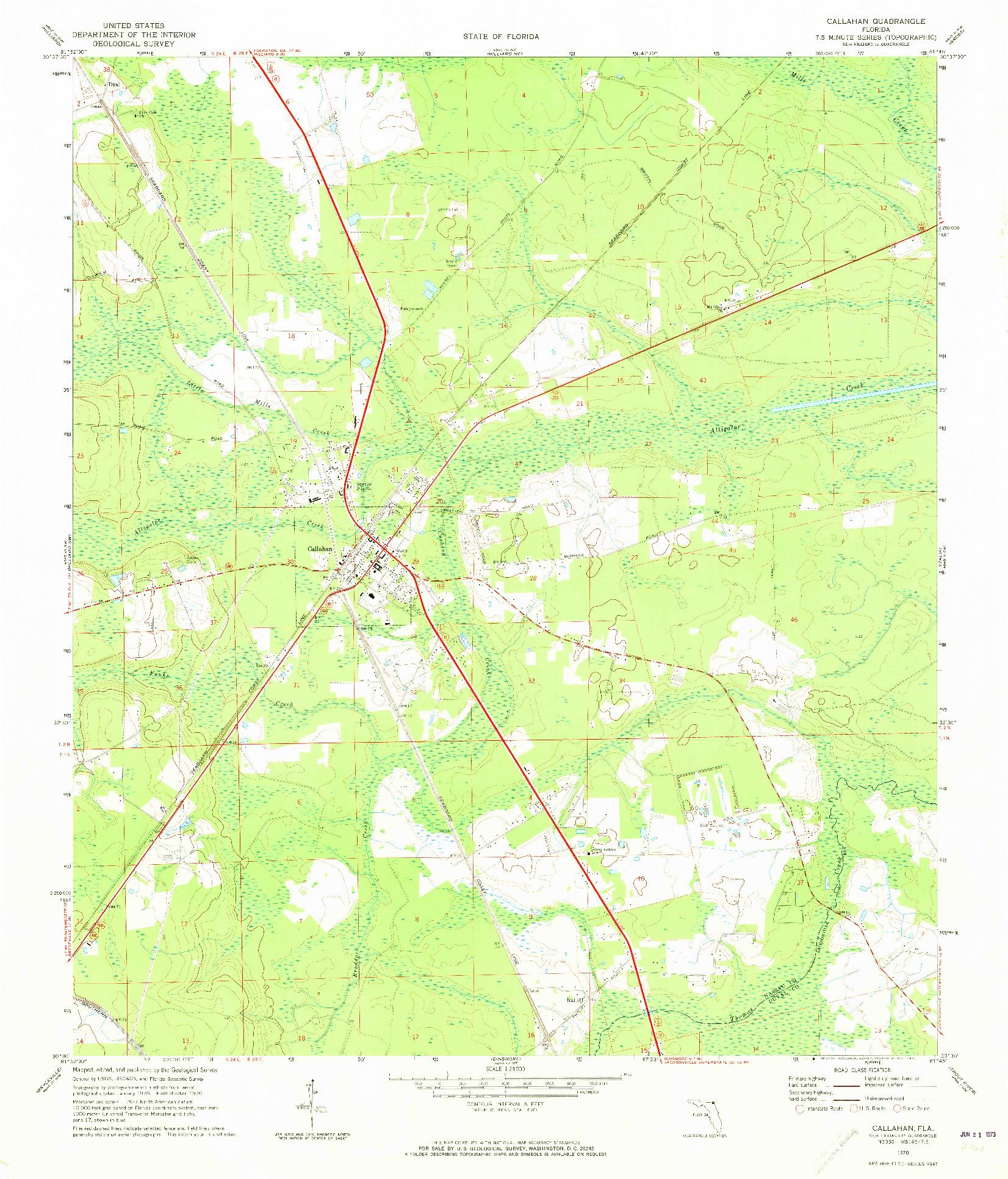 USGS 1:24000-SCALE QUADRANGLE FOR CALLAHAN, FL 1970