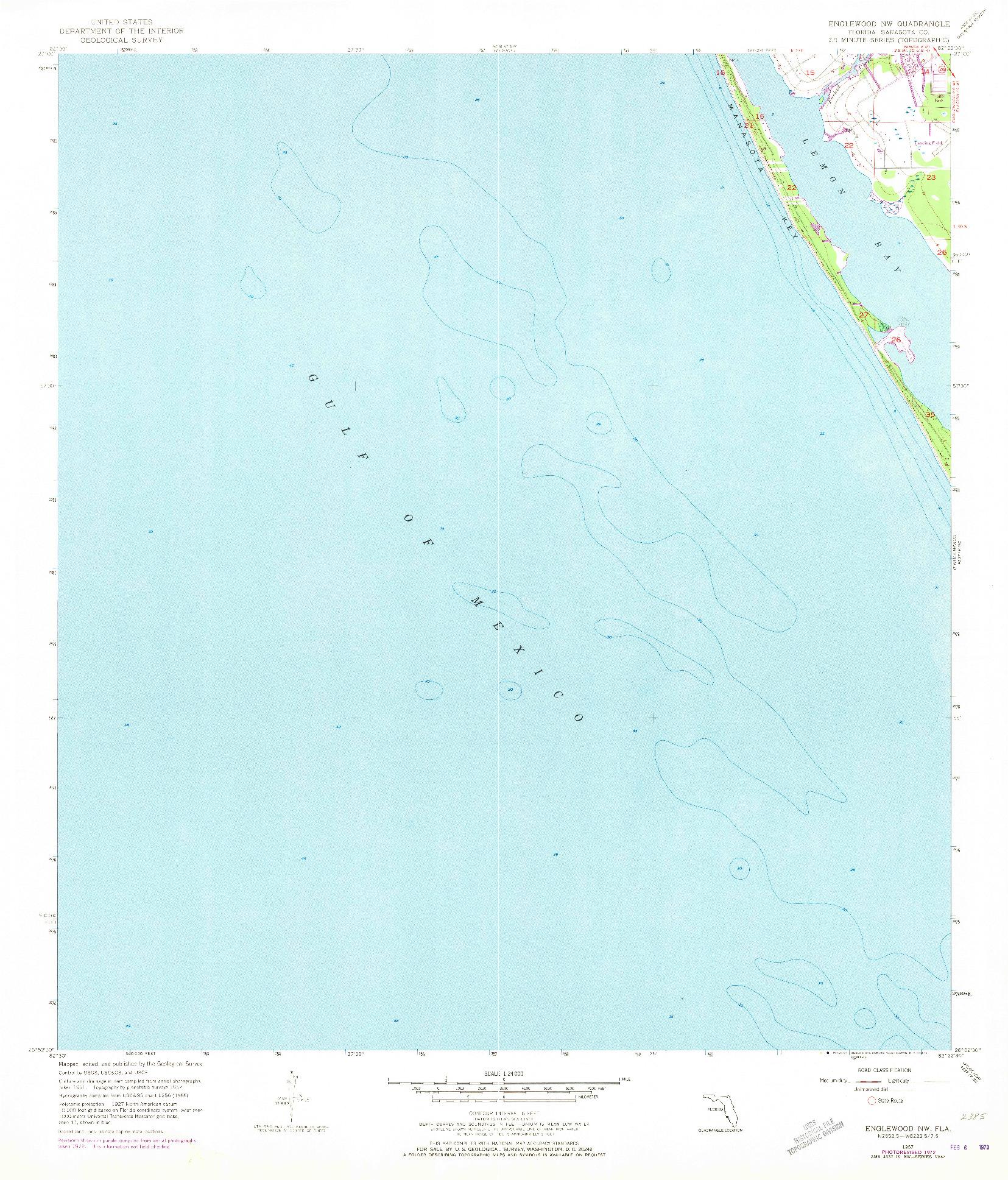 USGS 1:24000-SCALE QUADRANGLE FOR ENGLEWOOD NW, FL 1957