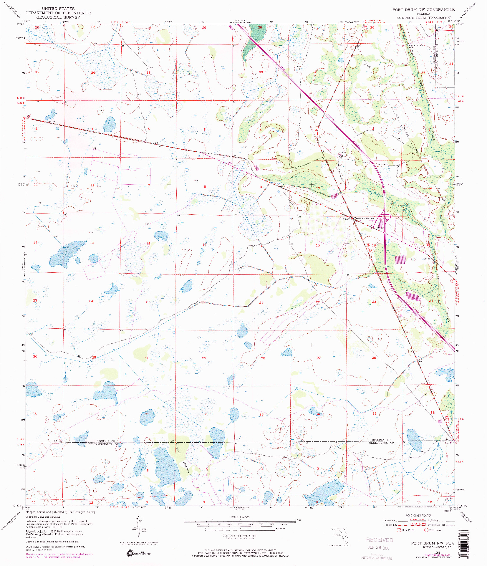 USGS 1:24000-SCALE QUADRANGLE FOR FORT DRUM NW, FL 1953