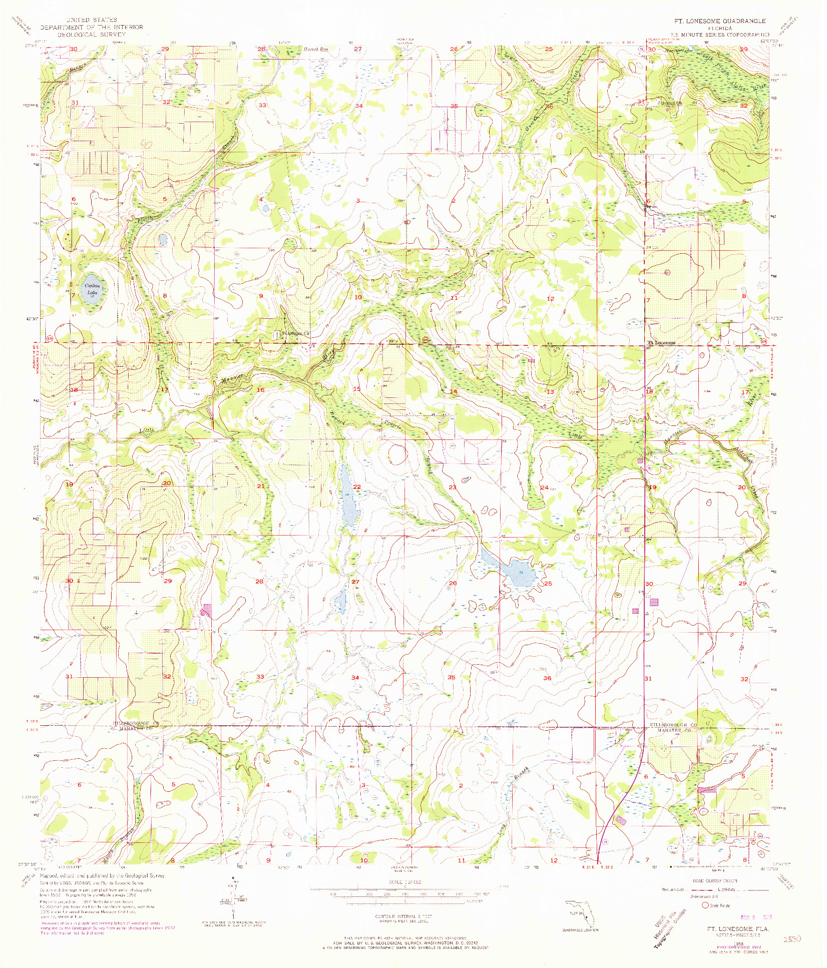 USGS 1:24000-SCALE QUADRANGLE FOR FT LONESOME, FL 1956