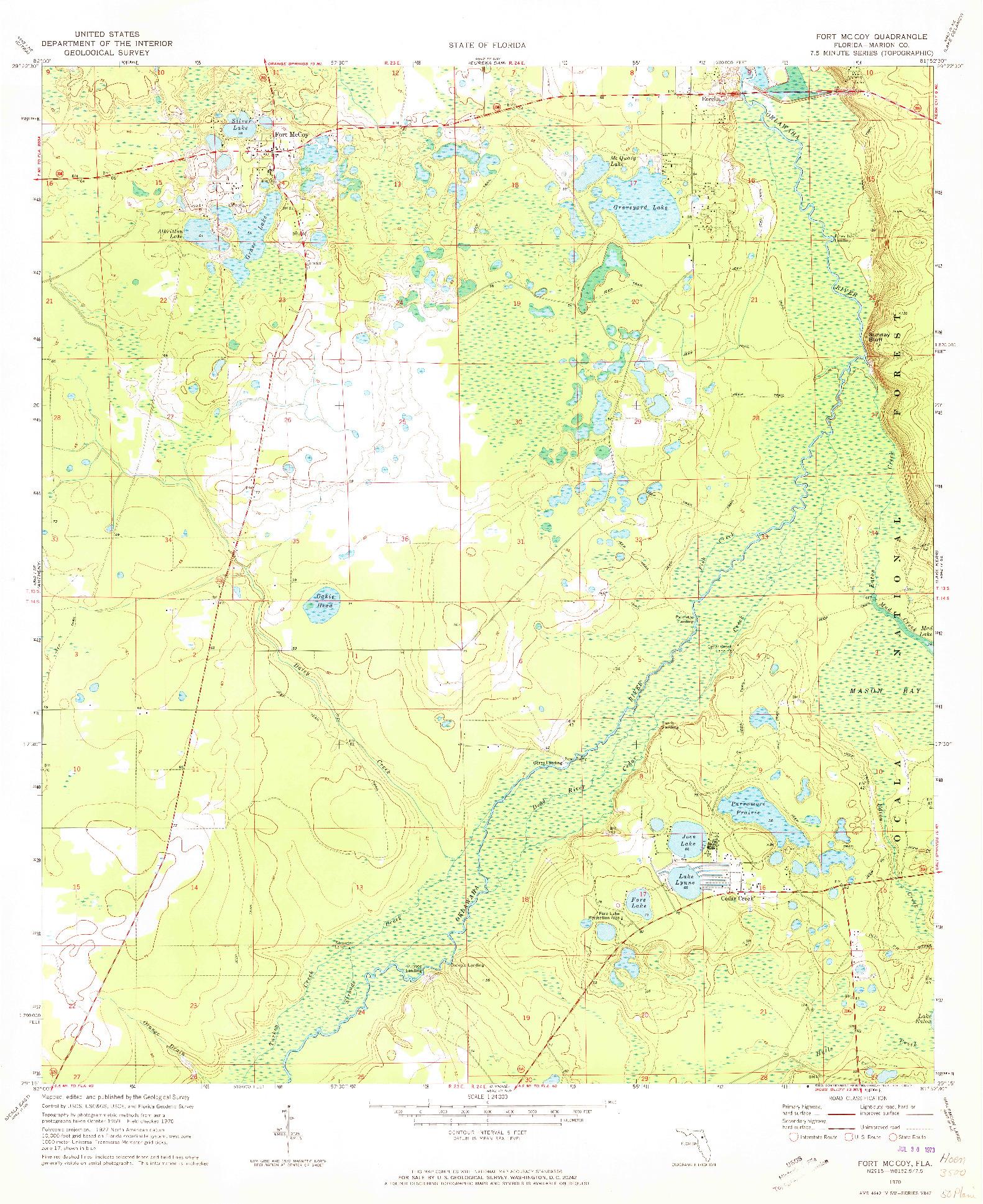 USGS 1:24000-SCALE QUADRANGLE FOR FT MCCOY, FL 1970