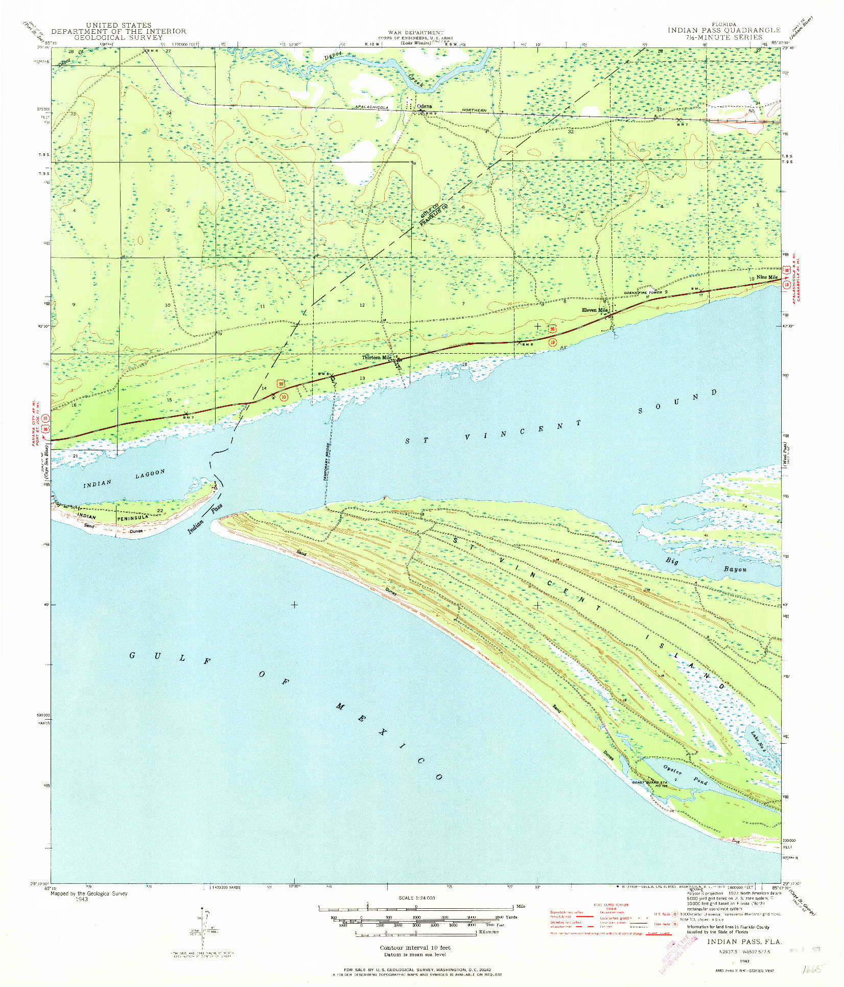 USGS 1:24000-SCALE QUADRANGLE FOR INDIAN PASS, FL 1943