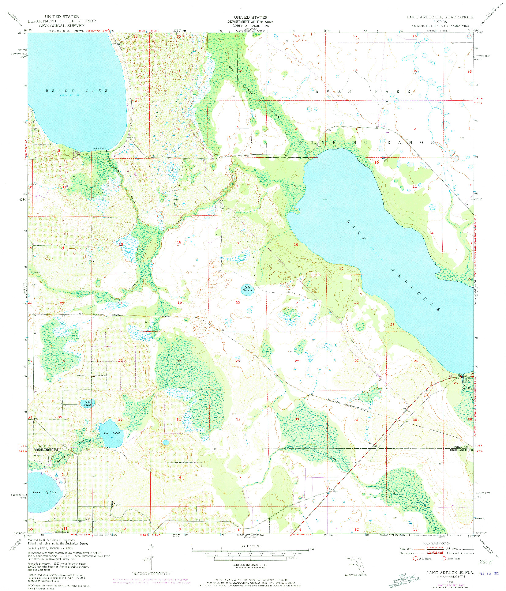 USGS 1:24000-SCALE QUADRANGLE FOR LAKE ARBUCKLE, FL 1952