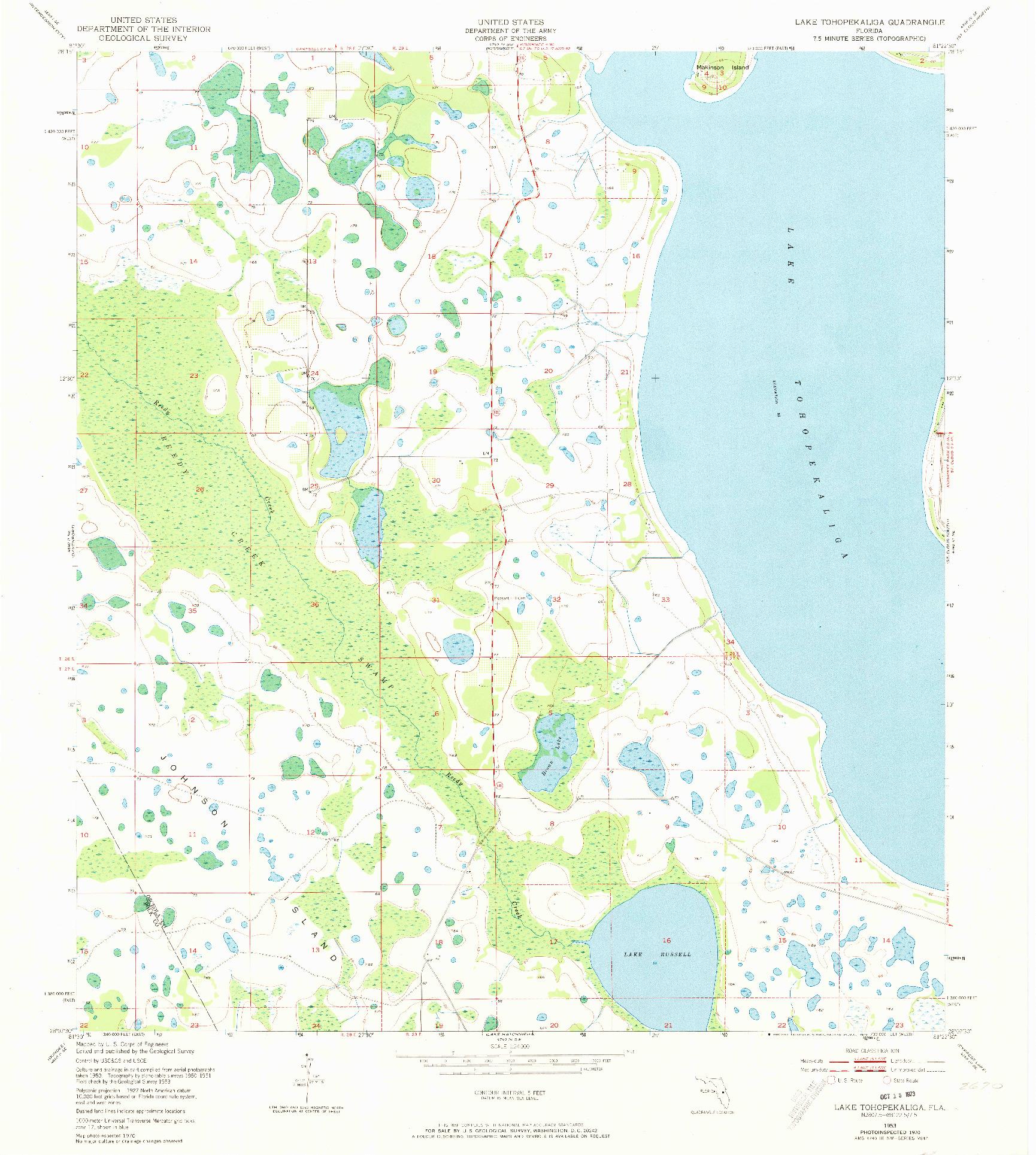 USGS 1:24000-SCALE QUADRANGLE FOR LAKE TOHOPEKALIGA, FL 1953