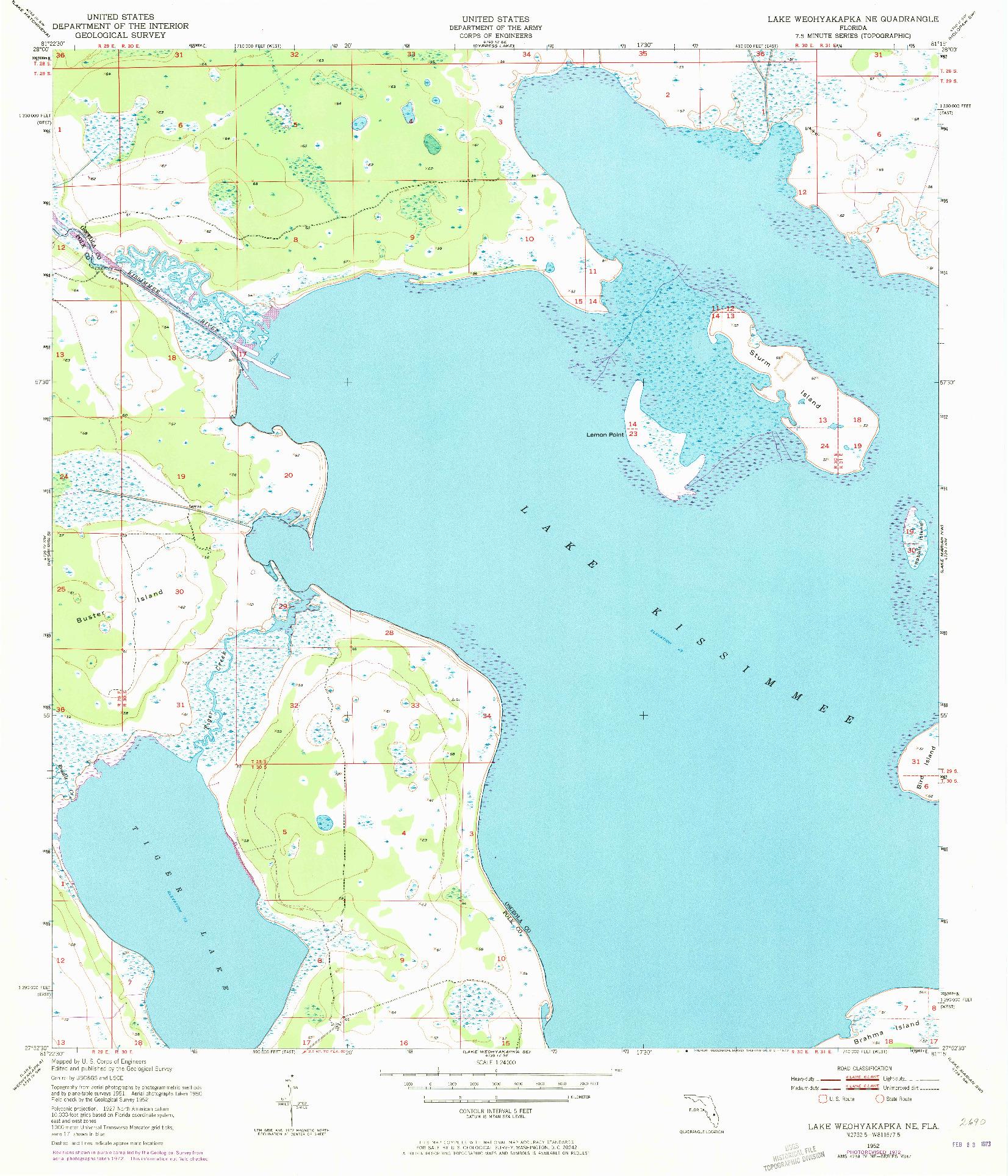 USGS 1:24000-SCALE QUADRANGLE FOR LAKE WEOHYAKAPKA NE, FL 1952