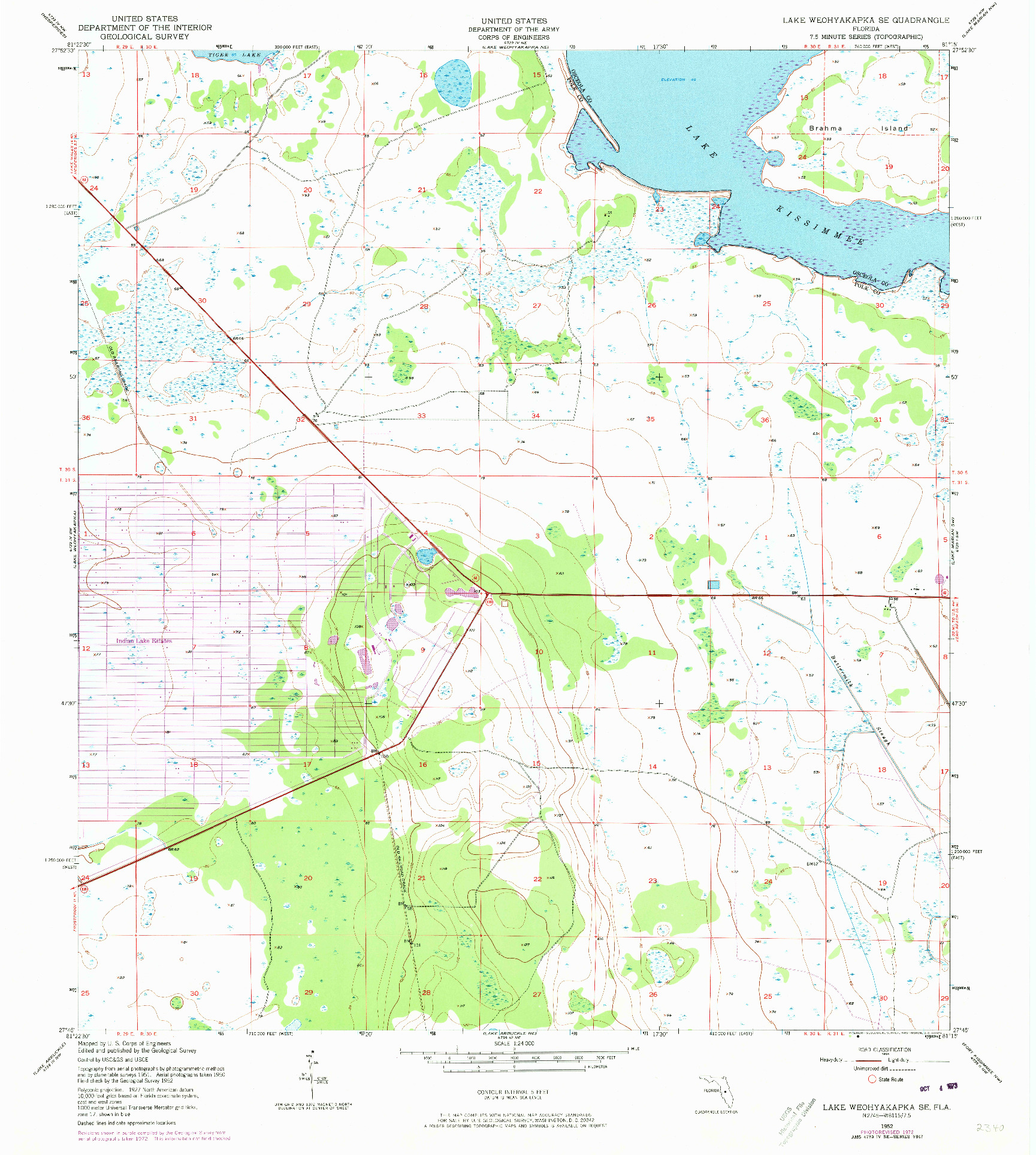 USGS 1:24000-SCALE QUADRANGLE FOR LAKE WEOHYAKAPKA SE, FL 1952