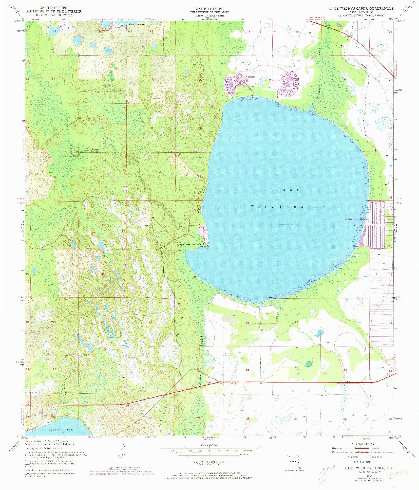 USGS 1:24000-SCALE QUADRANGLE FOR LAKE WEOHYAKAPKA, FL 1952