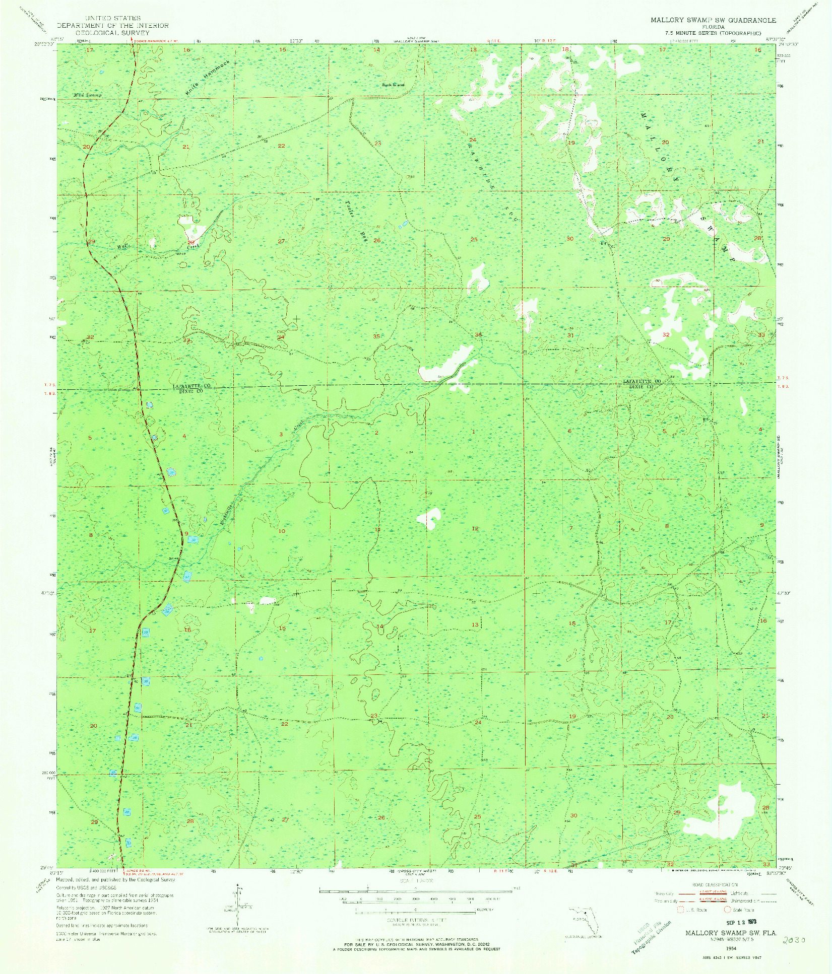 USGS 1:24000-SCALE QUADRANGLE FOR MALLORY SWAMP SW, FL 1954