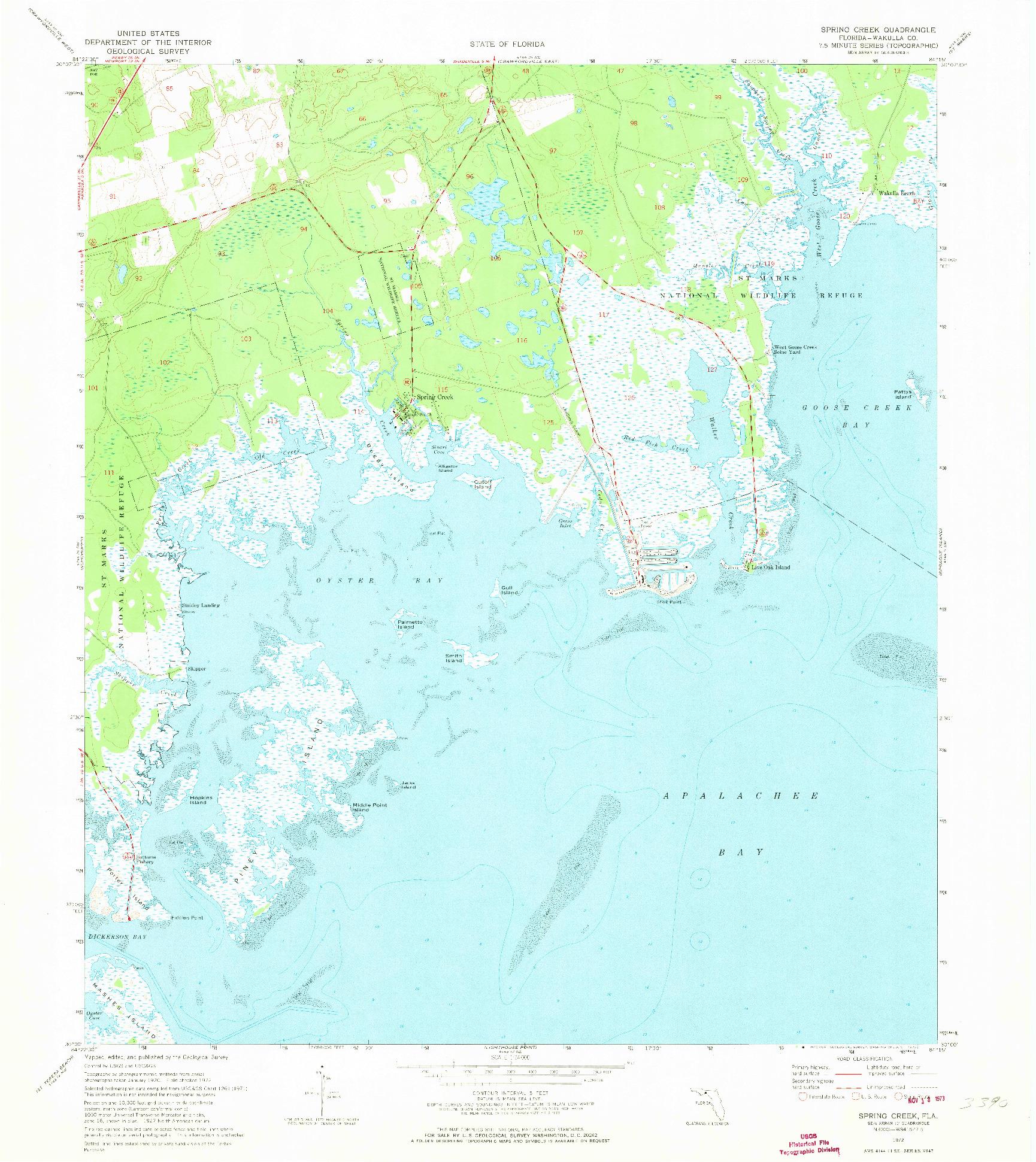 USGS 1:24000-SCALE QUADRANGLE FOR SPRING CREEK, FL 1972