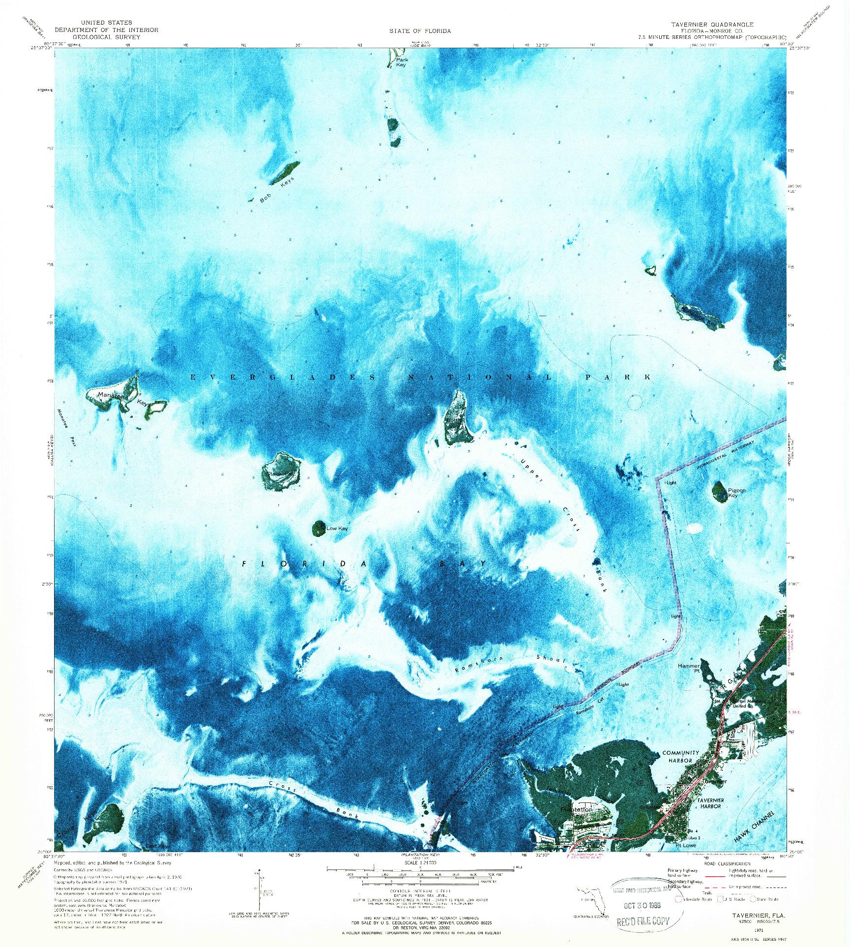 USGS 1:24000-SCALE QUADRANGLE FOR TAVERNIER, FL 1971