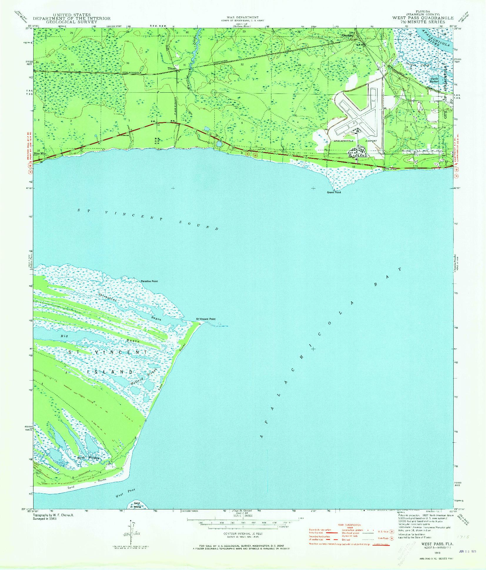 USGS 1:24000-SCALE QUADRANGLE FOR WEST PASS, FL 1943