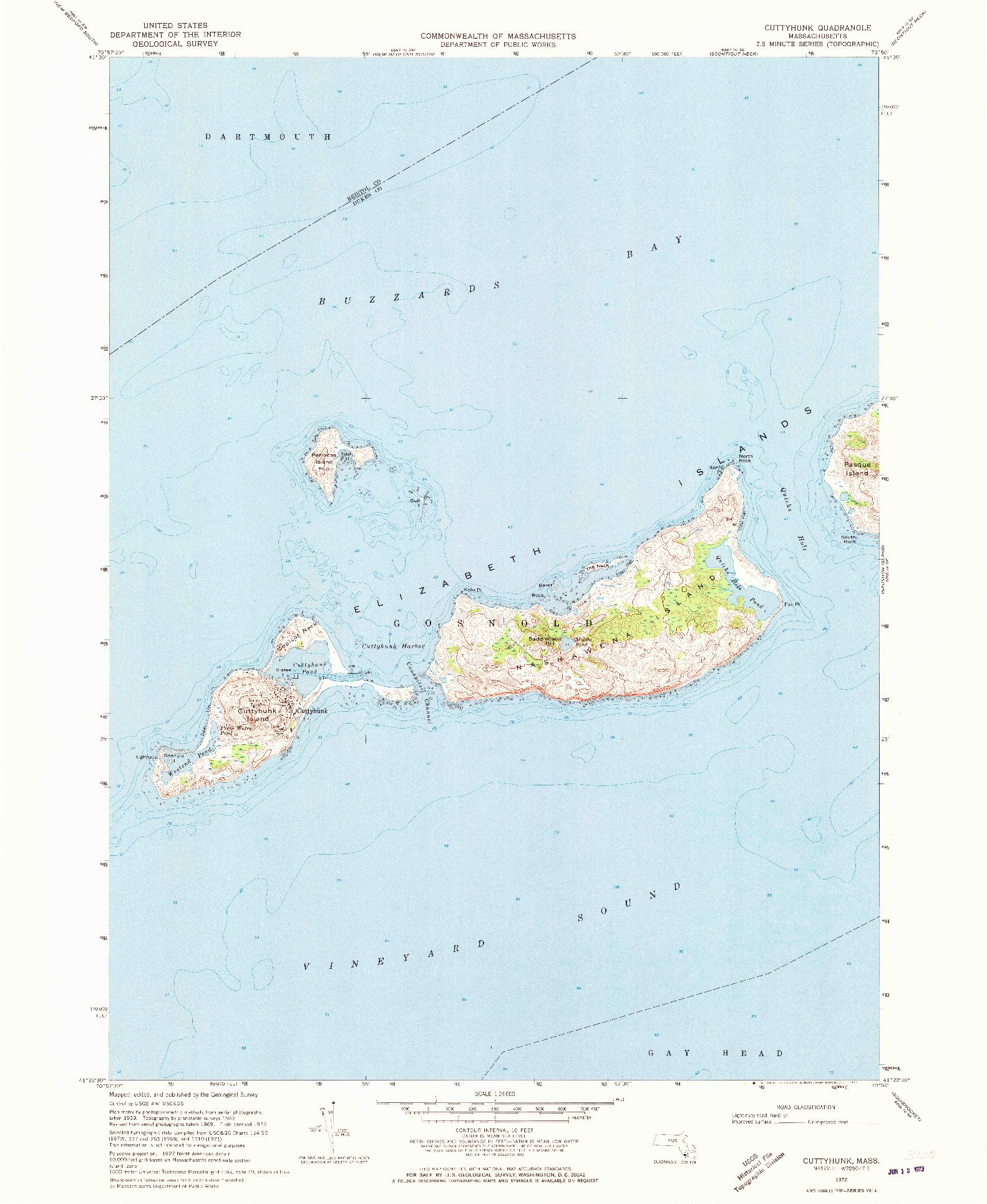 USGS 1:24000-SCALE QUADRANGLE FOR CUTTYHUNK, MA 1972