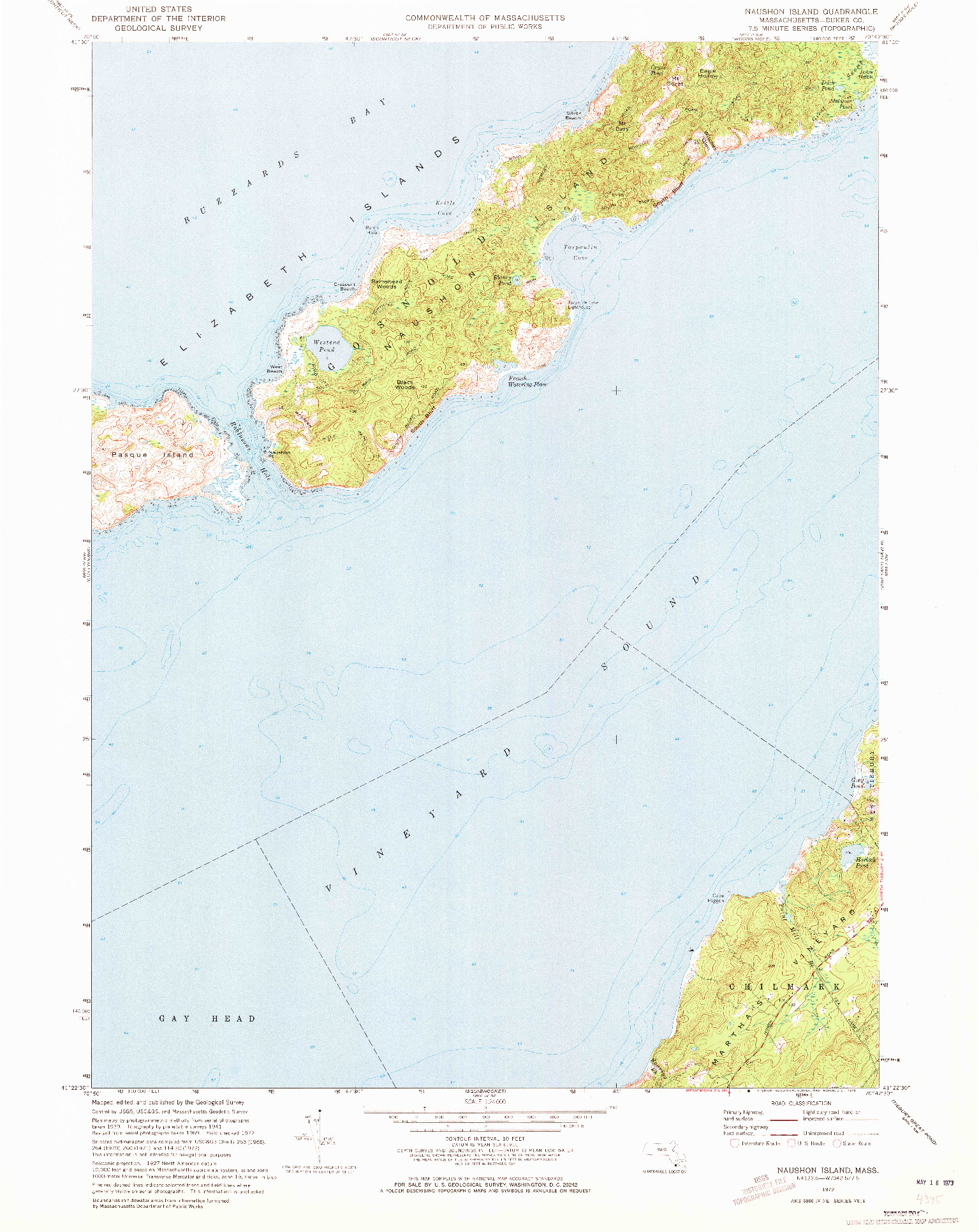 USGS 1:24000-SCALE QUADRANGLE FOR NAUSHON ISLAND, MA 1972