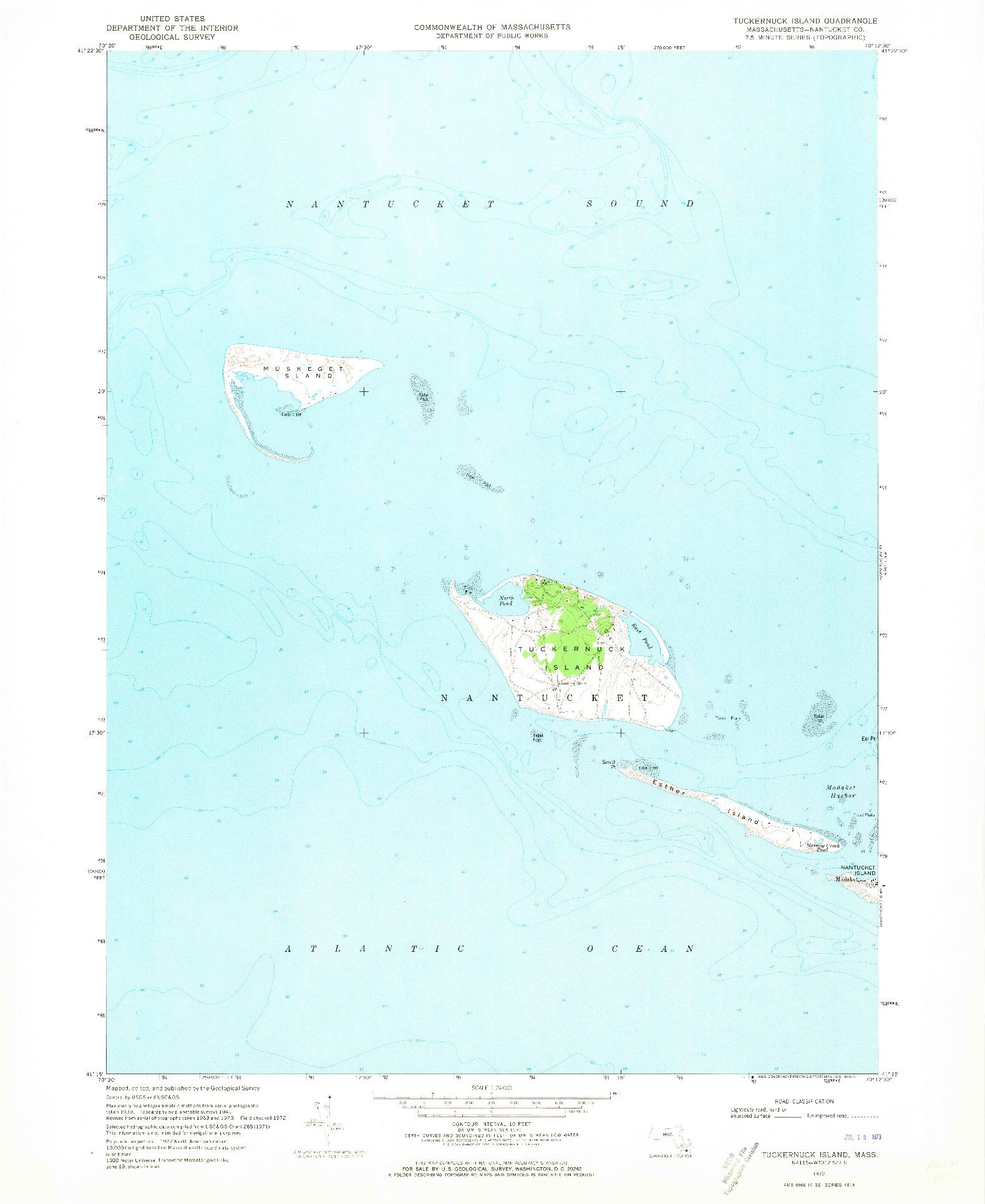 USGS 1:24000-SCALE QUADRANGLE FOR TUCKERNUCK ISLAND, MA 1972