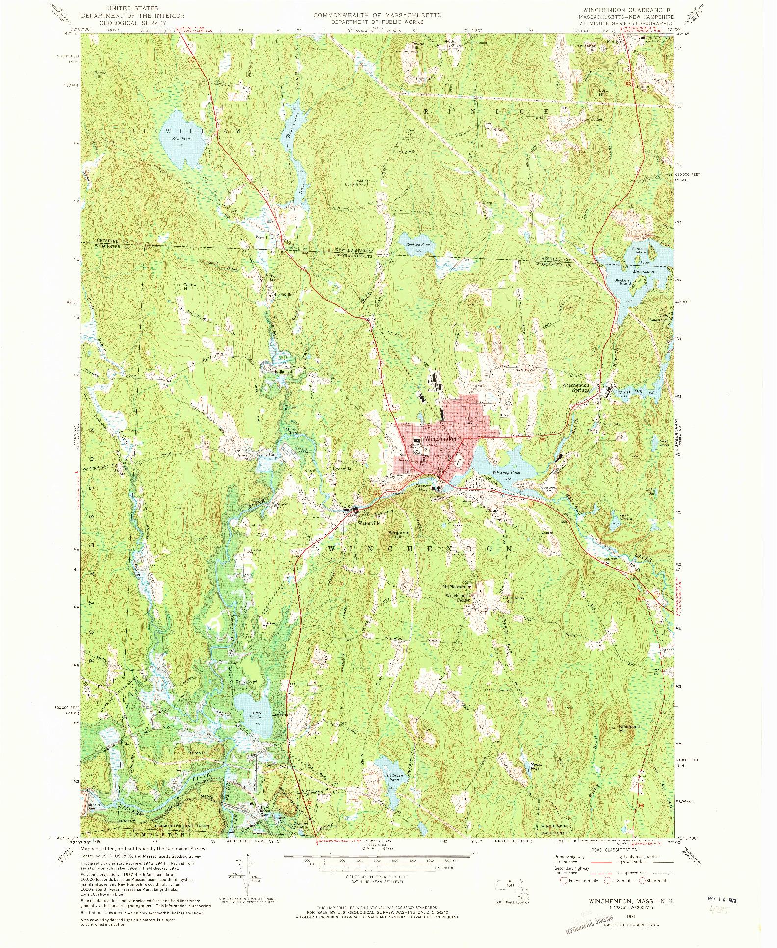 USGS 1:24000-SCALE QUADRANGLE FOR WINCHENDON, MA 1971
