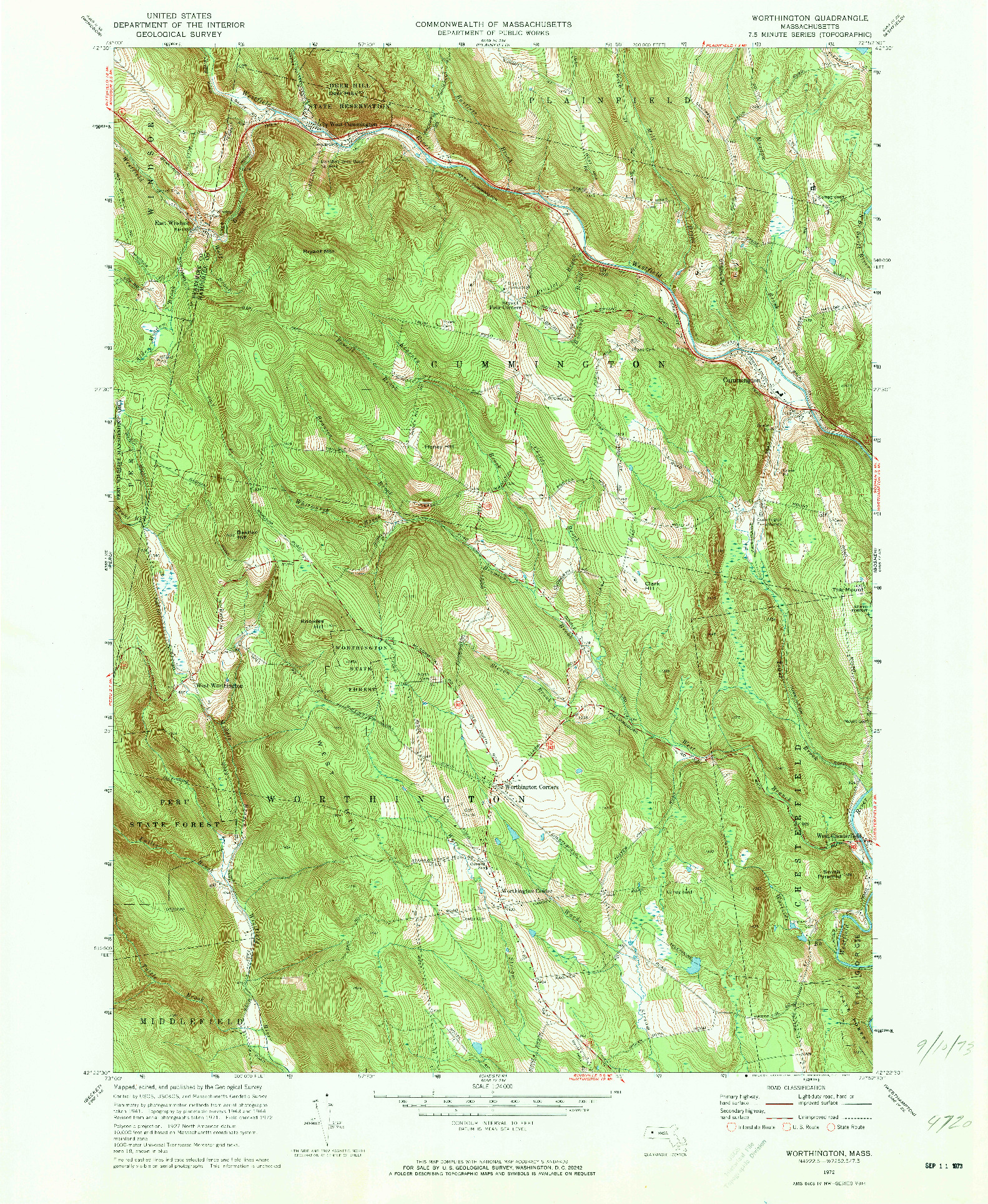 USGS 1:24000-SCALE QUADRANGLE FOR WORTHINGTON, MA 1972