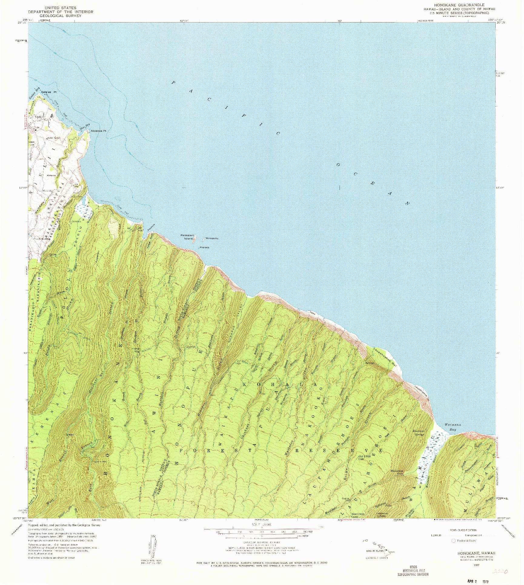 USGS 1:24000-SCALE QUADRANGLE FOR HONOKANE, HI 1957