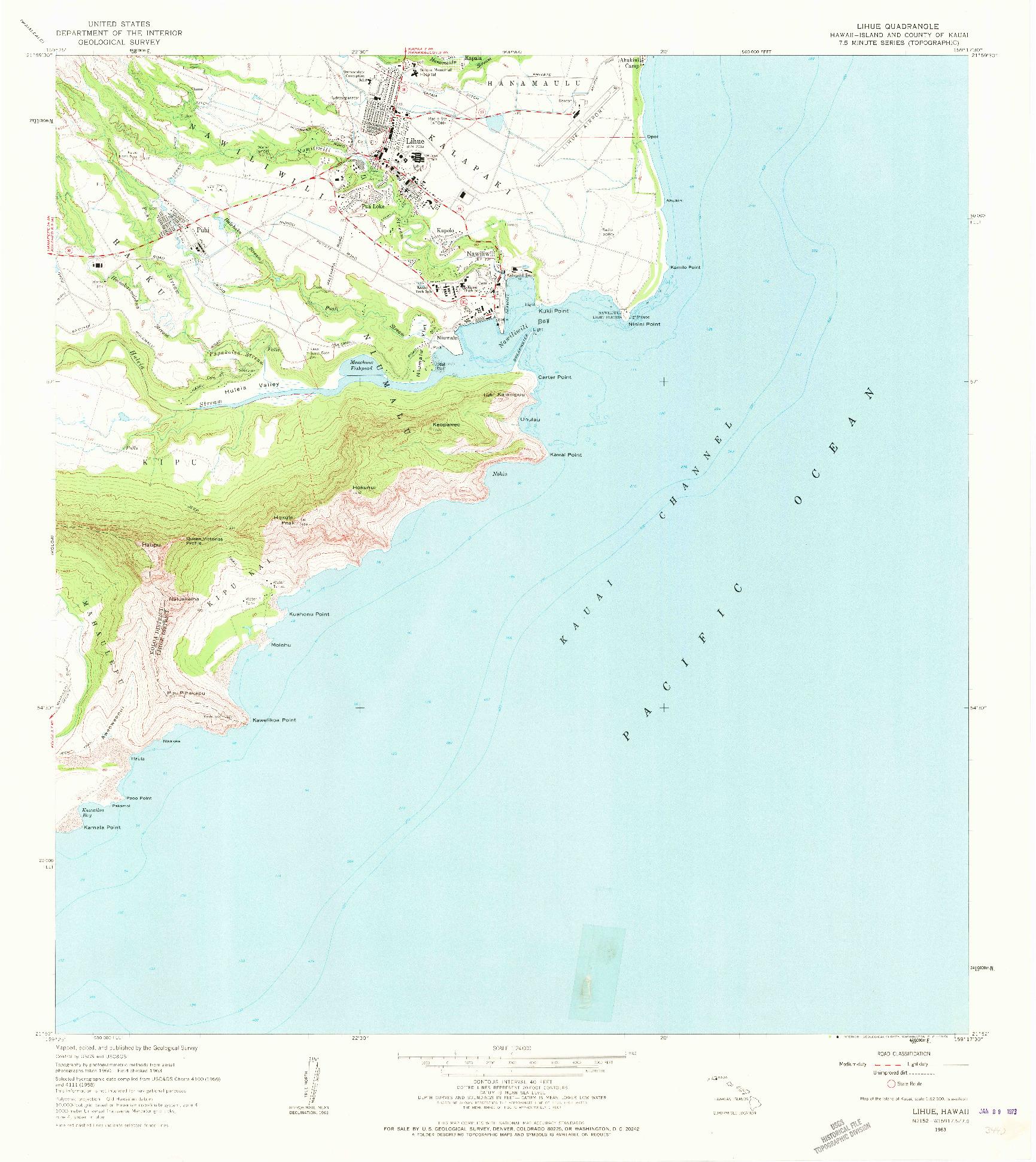 USGS 1:24000-SCALE QUADRANGLE FOR LIHUE, HI 1963