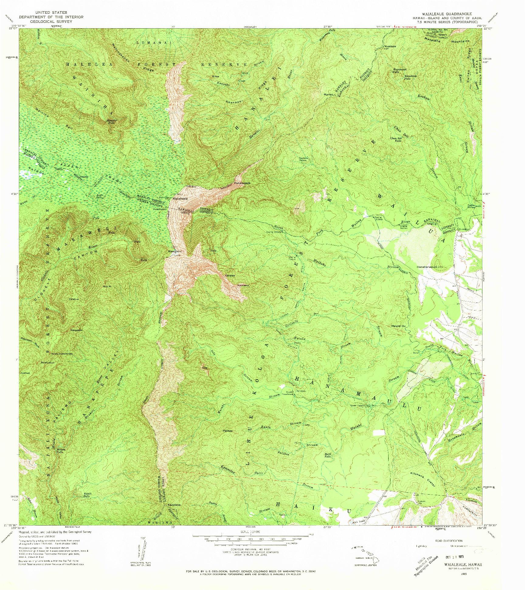 USGS 1:24000-SCALE QUADRANGLE FOR WAIALEALE, HI 1965