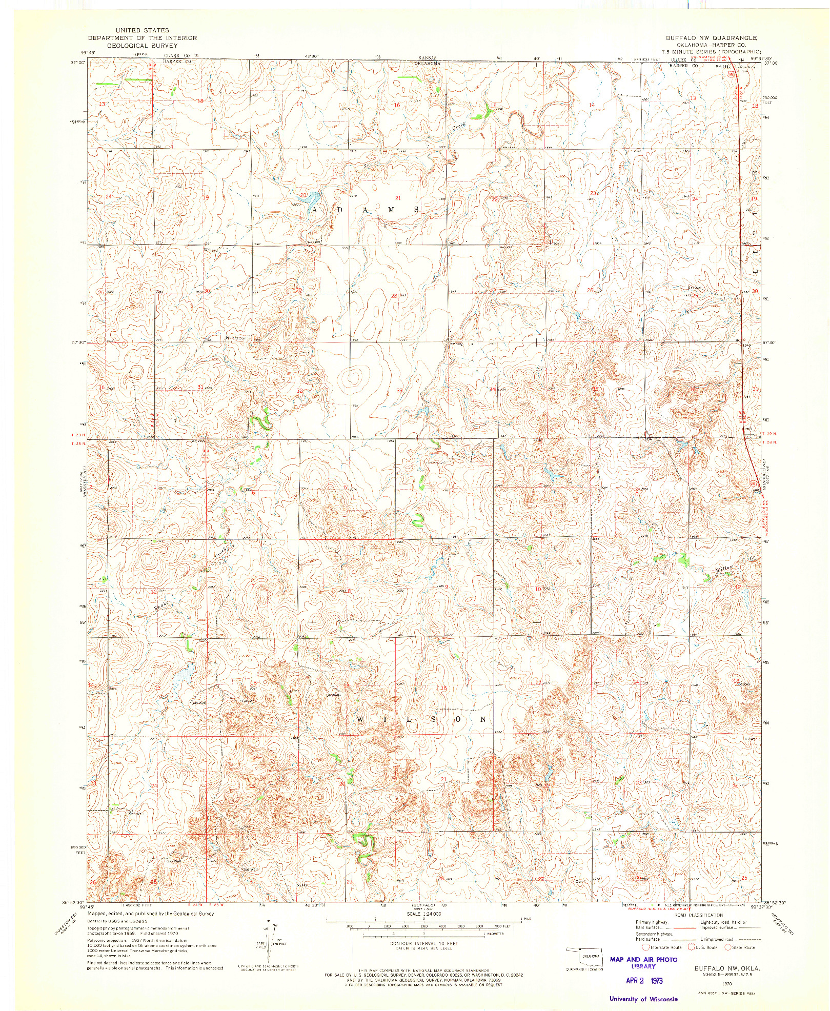 USGS 1:24000-SCALE QUADRANGLE FOR BUFFALO NW, OK 1970