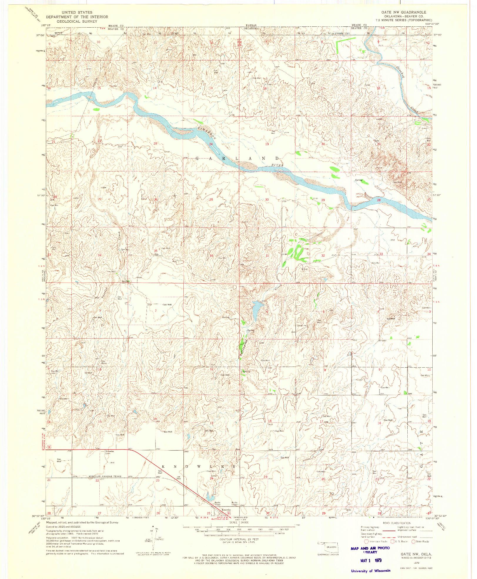 USGS 1:24000-SCALE QUADRANGLE FOR GATE NW, OK 1970