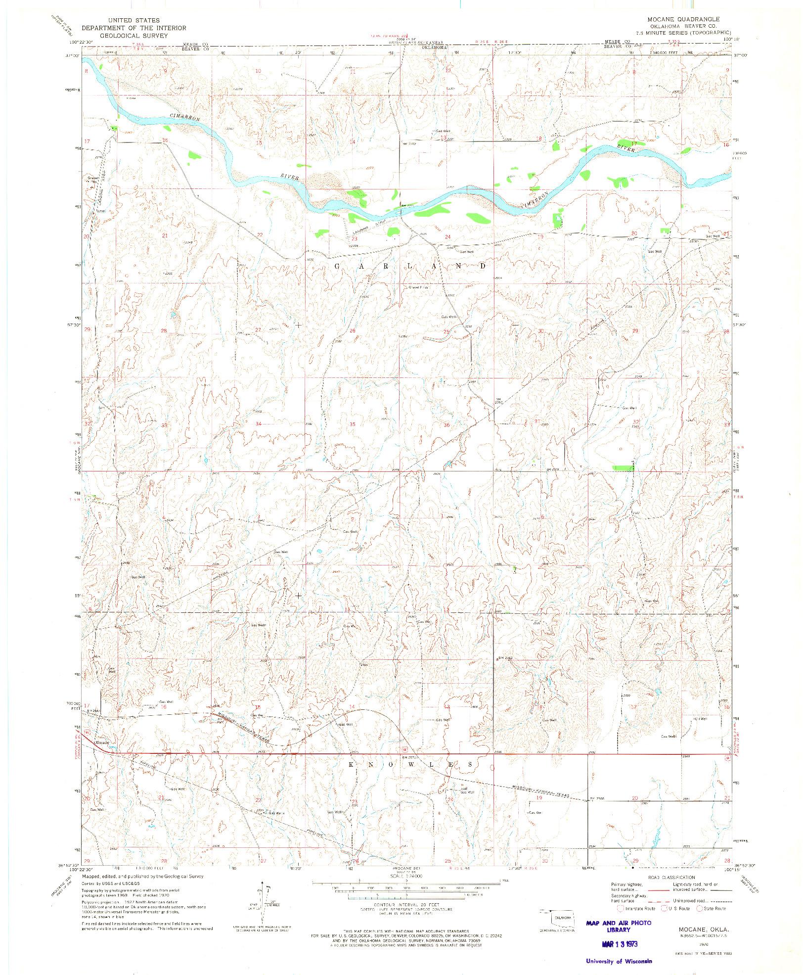 USGS 1:24000-SCALE QUADRANGLE FOR MOCANE, OK 1970