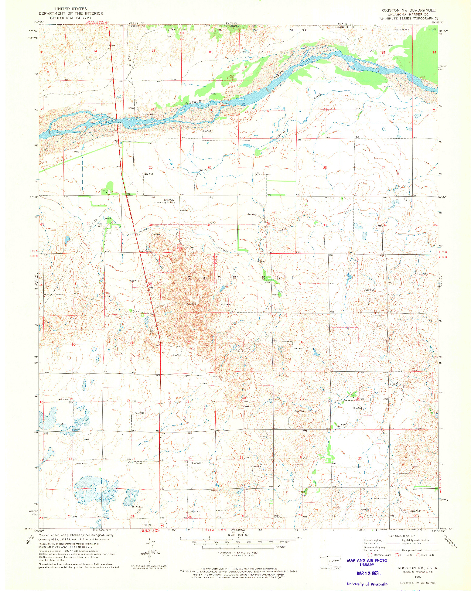 USGS 1:24000-SCALE QUADRANGLE FOR ROSSTON NW, OK 1970