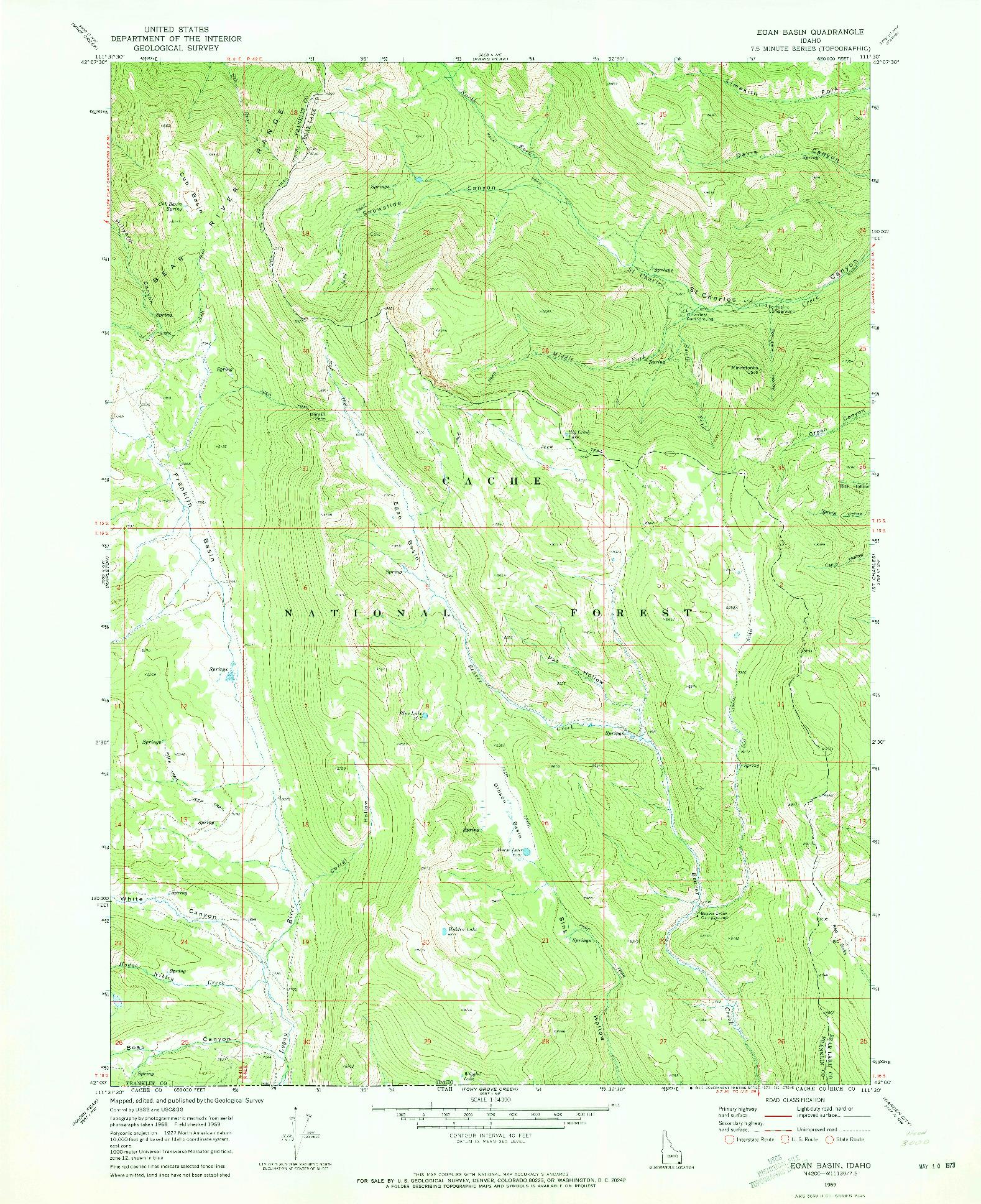 USGS 1:24000-SCALE QUADRANGLE FOR EGAN BASIN, ID 1969