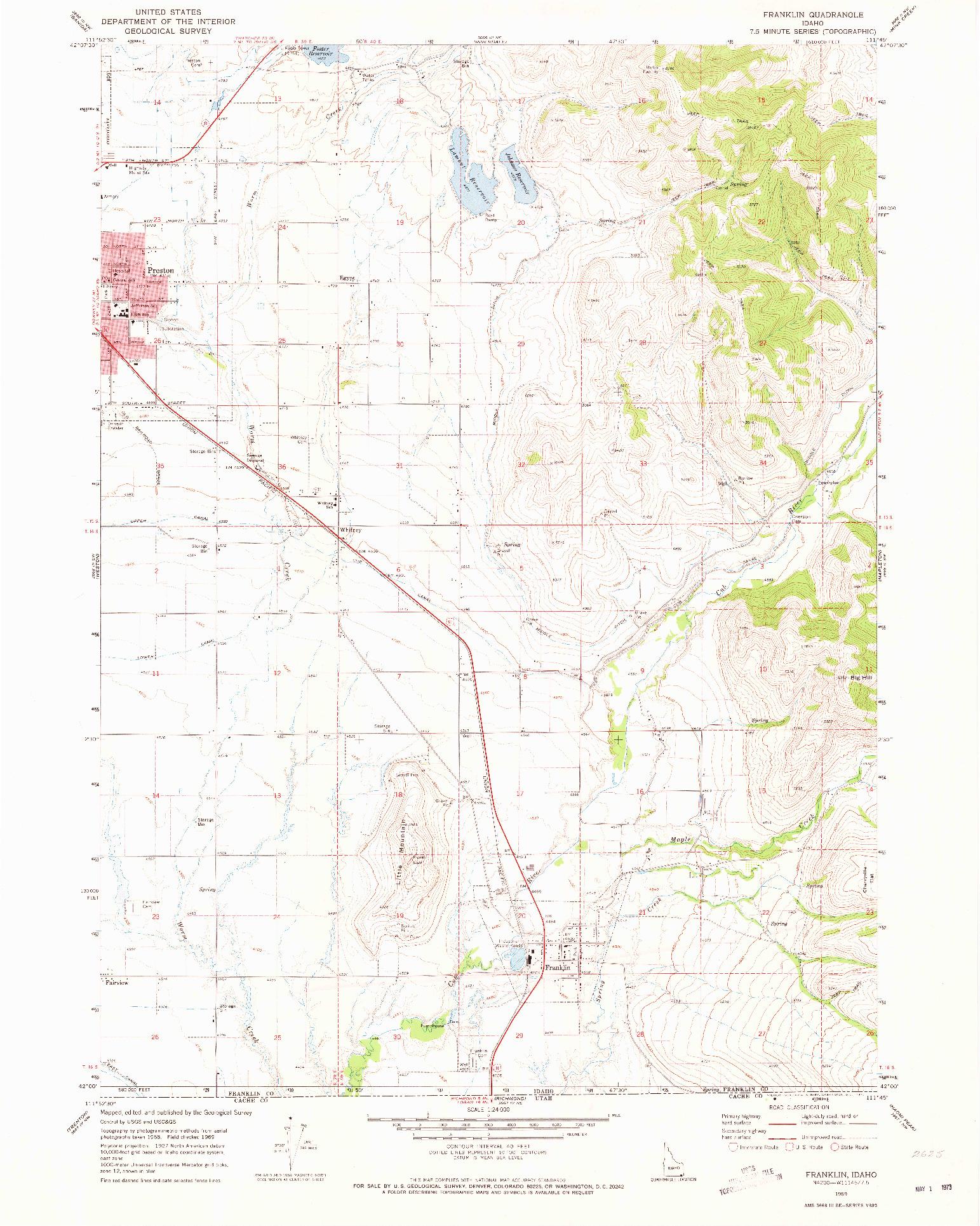 USGS 1:24000-SCALE QUADRANGLE FOR FRANKLIN, ID 1969