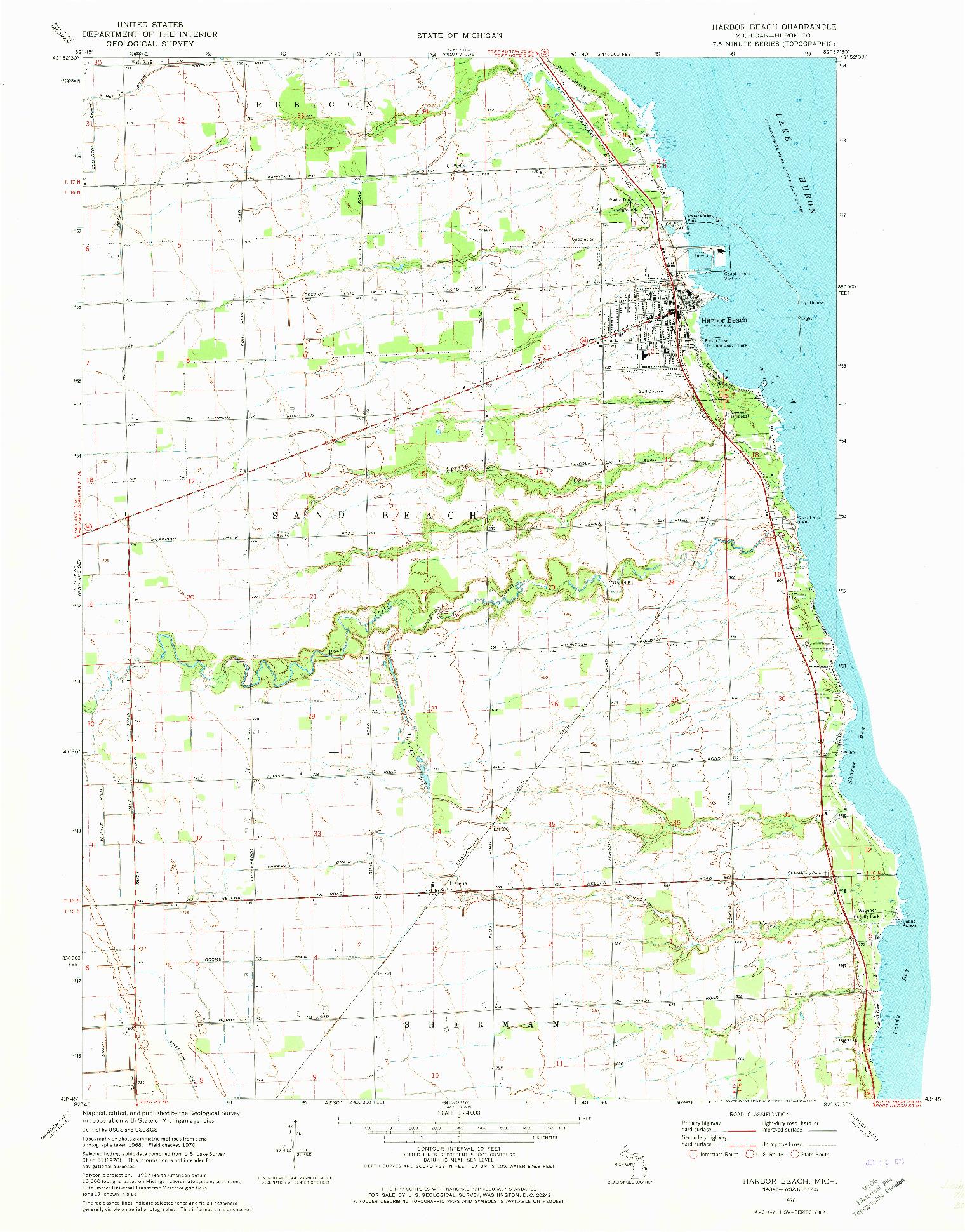 USGS 1:24000-SCALE QUADRANGLE FOR HARBOR BEACH, MI 1970