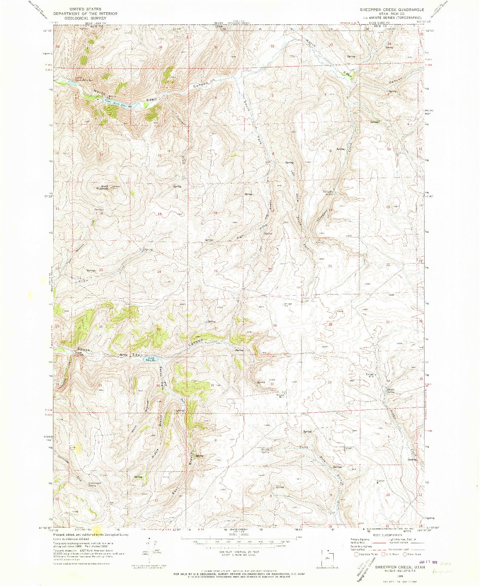 USGS 1:24000-SCALE QUADRANGLE FOR SHEEPPEN CREEK, UT 1969