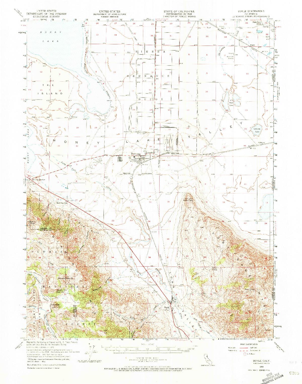 USGS 1:62500-SCALE QUADRANGLE FOR DOYLE, CA 1954