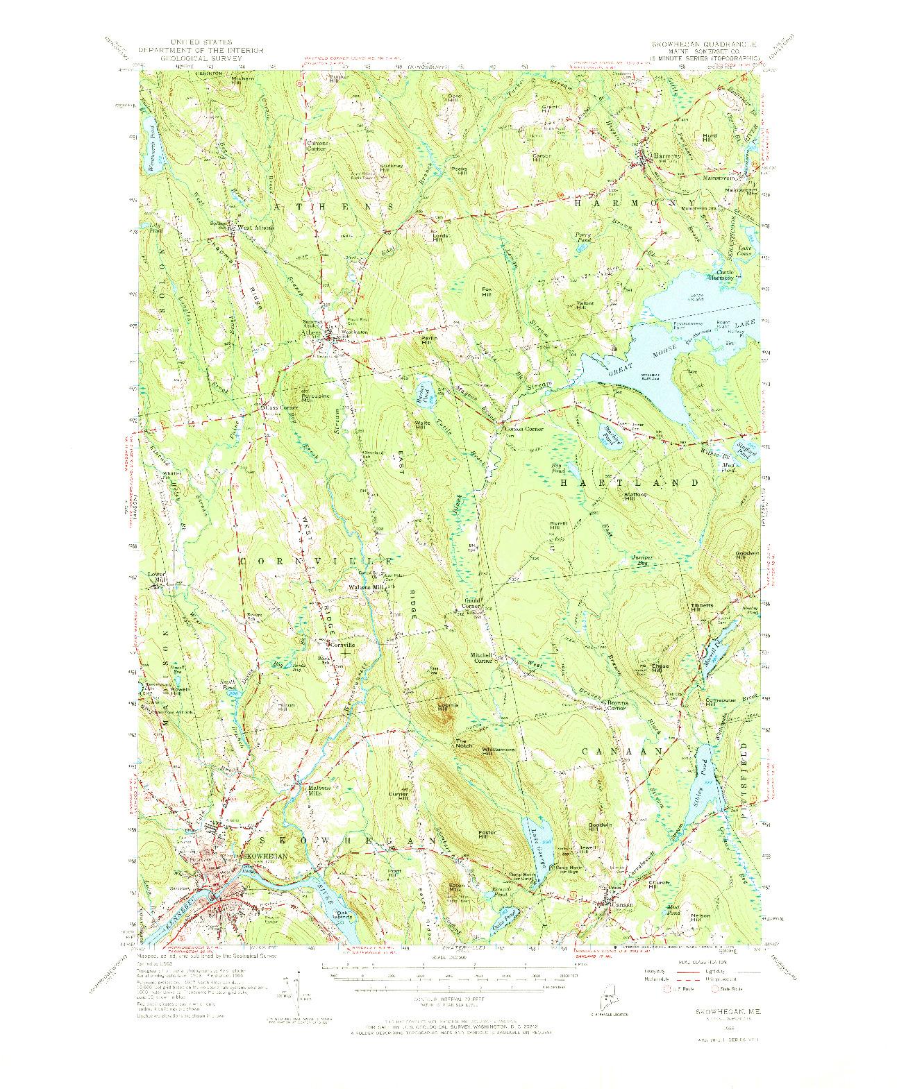 USGS 1:62500-SCALE QUADRANGLE FOR SKOWHEGAN, ME 1955