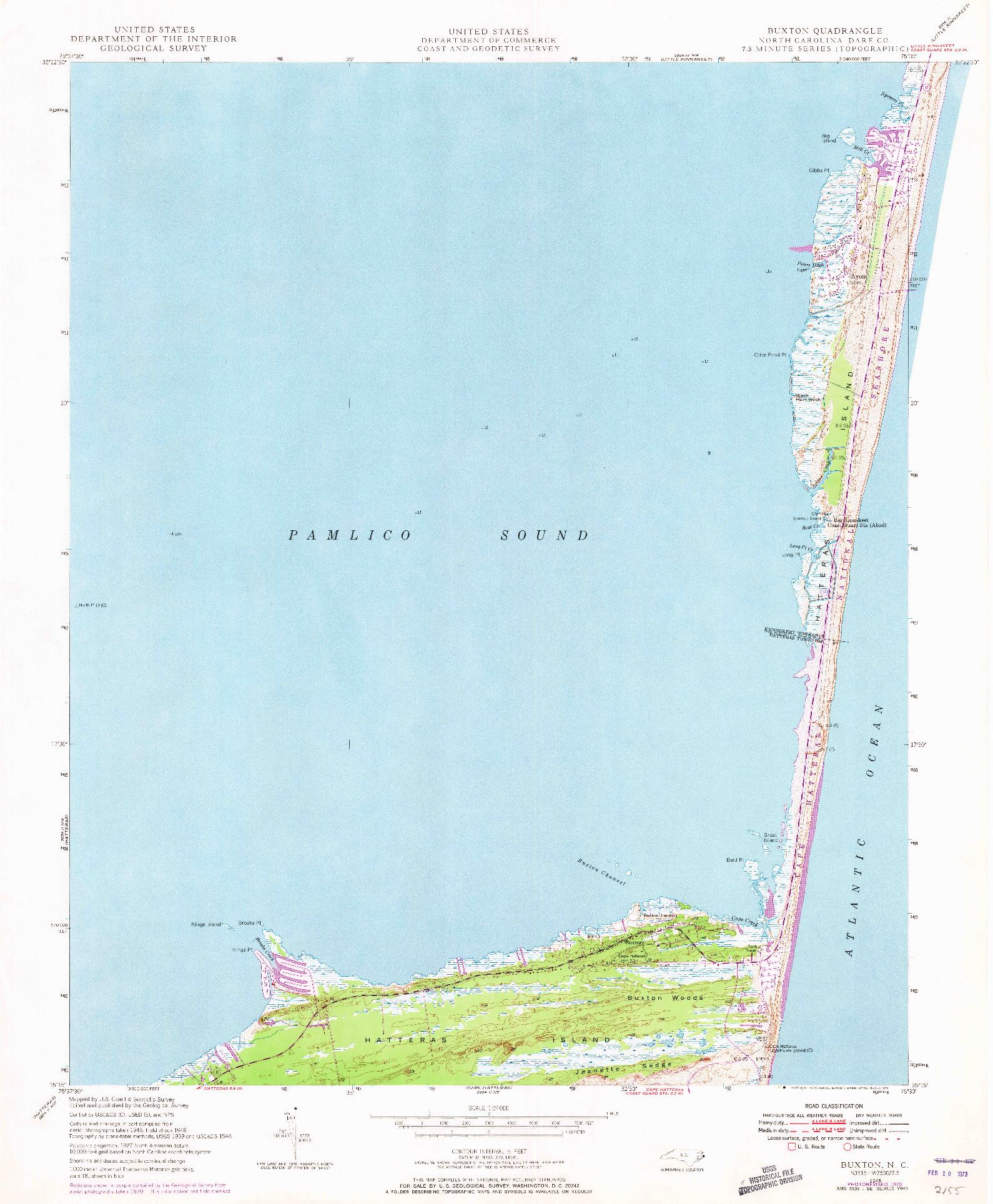 USGS 1:24000-SCALE QUADRANGLE FOR BUXTON, NC 1948