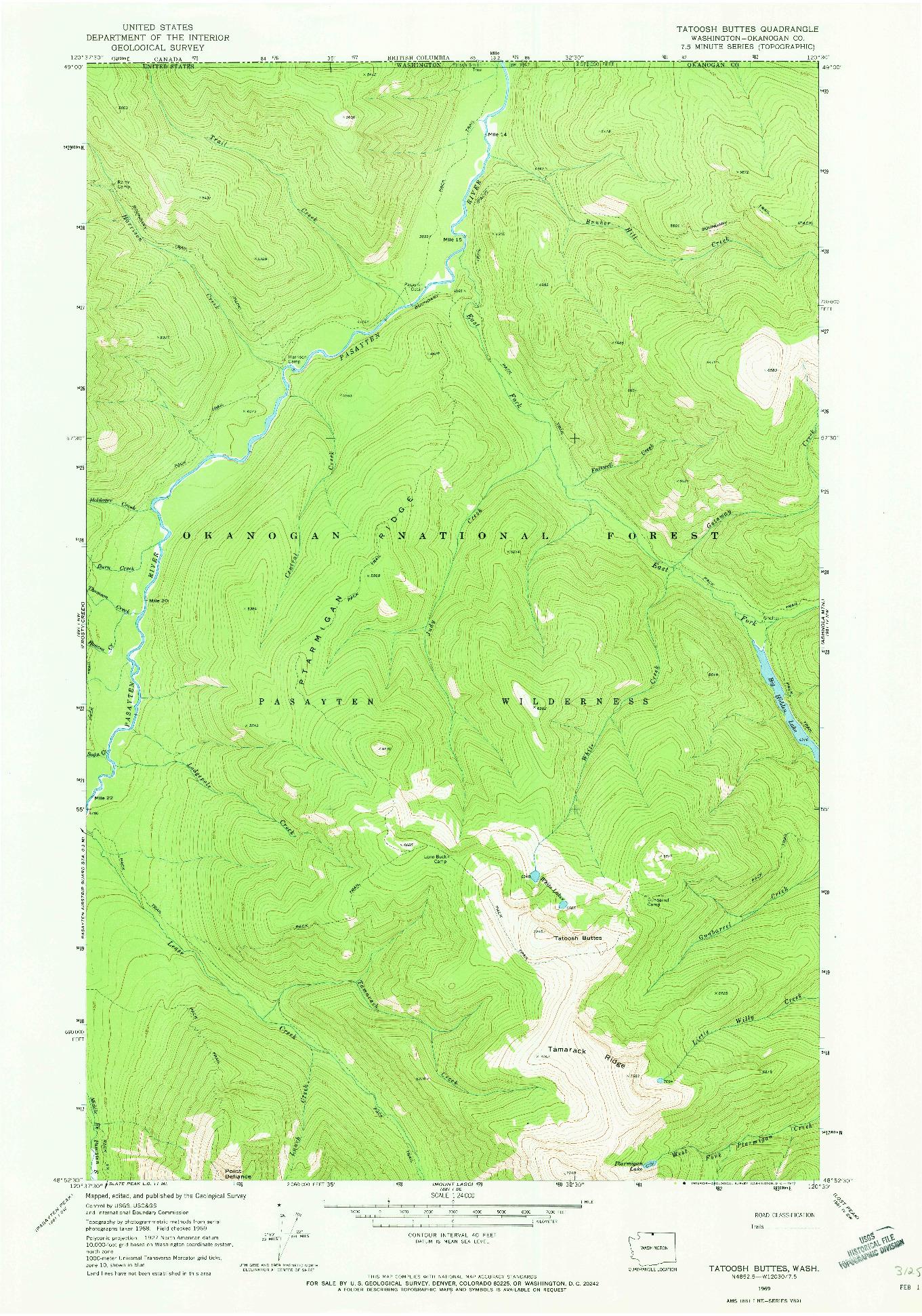 USGS 1:24000-SCALE QUADRANGLE FOR TATOOSH BUTTES, WA 1969