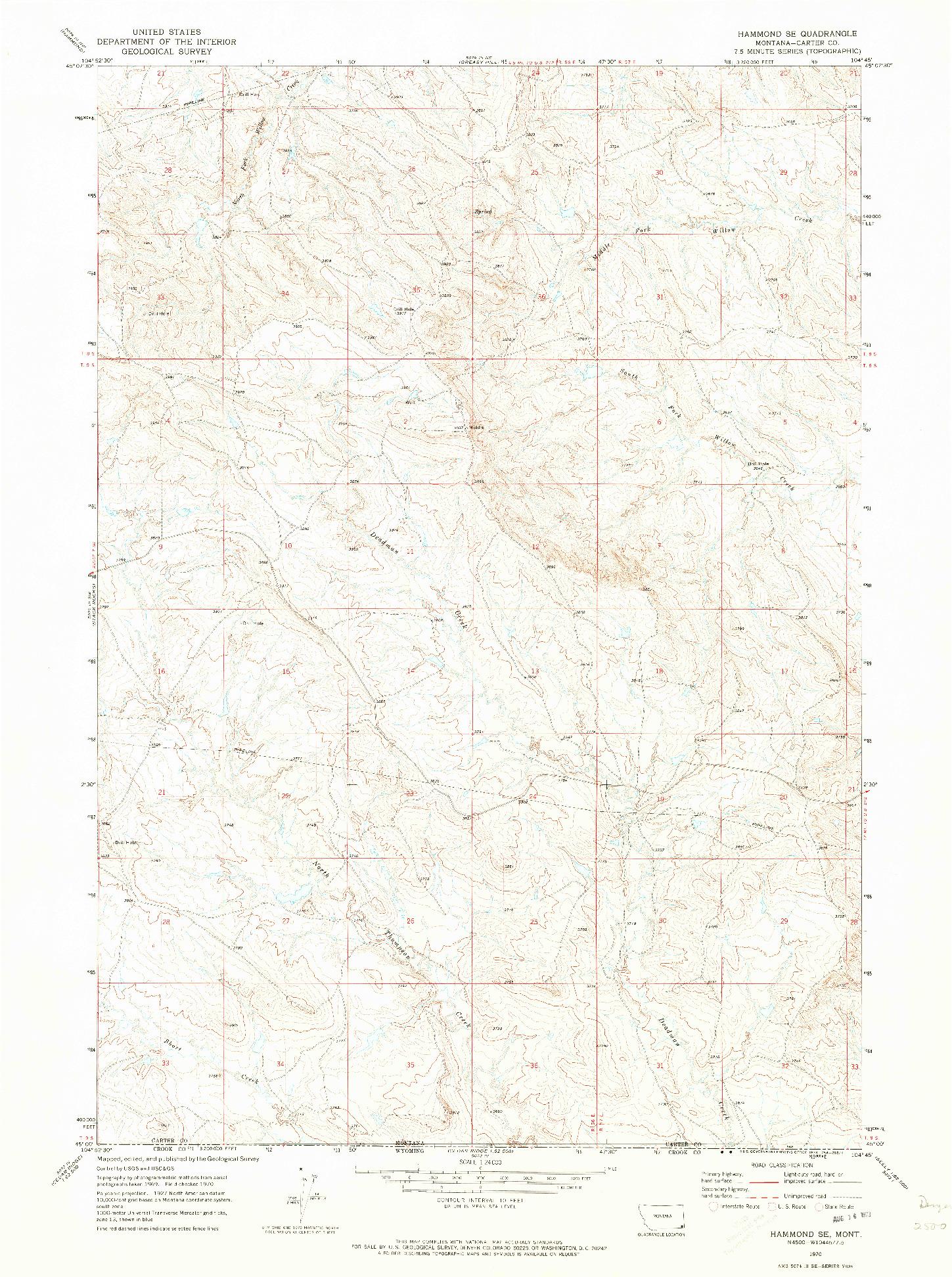 USGS 1:24000-SCALE QUADRANGLE FOR HAMMOND SE, MT 1970