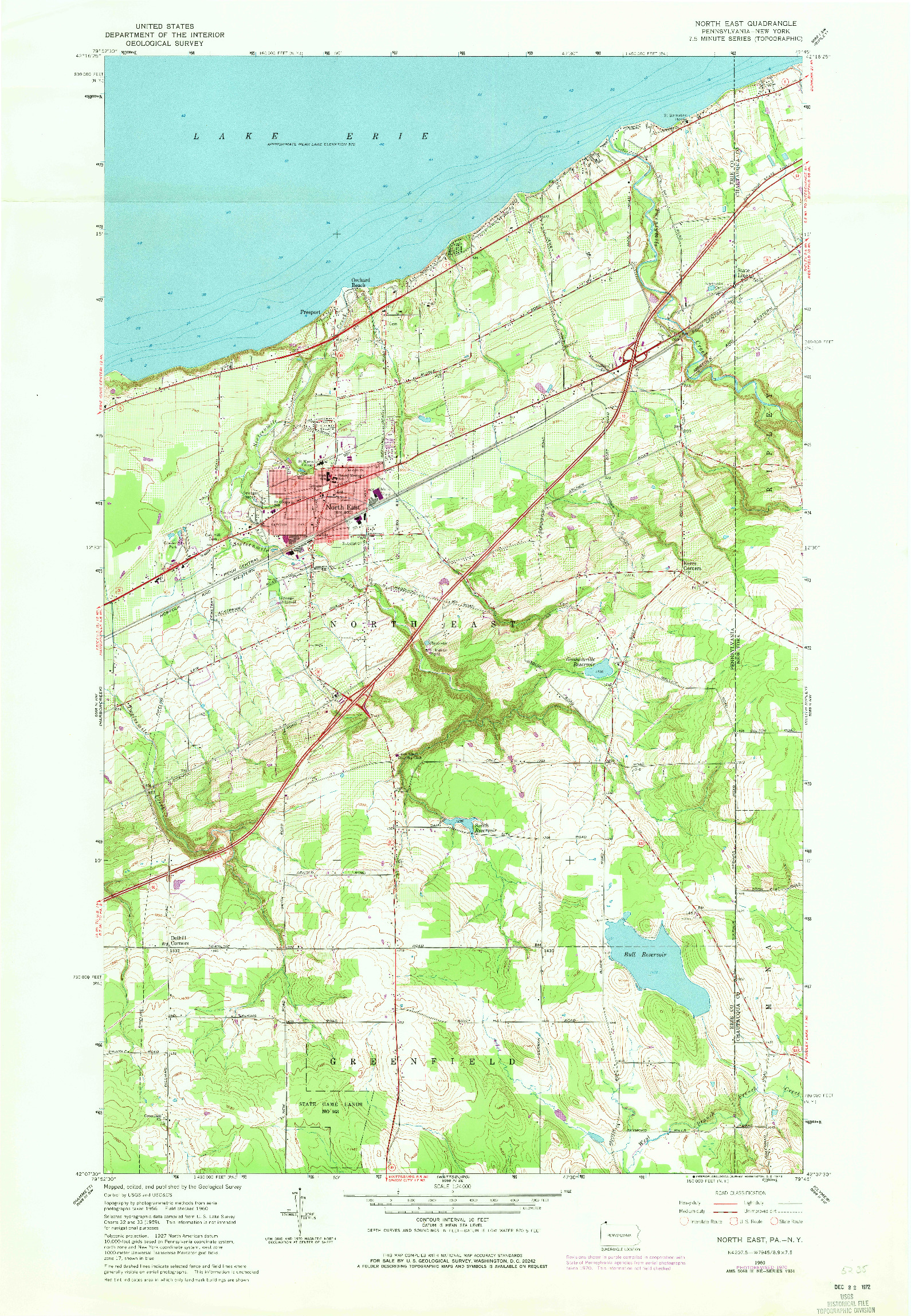 USGS 1:24000-SCALE QUADRANGLE FOR NORTH EAST, PA 1960