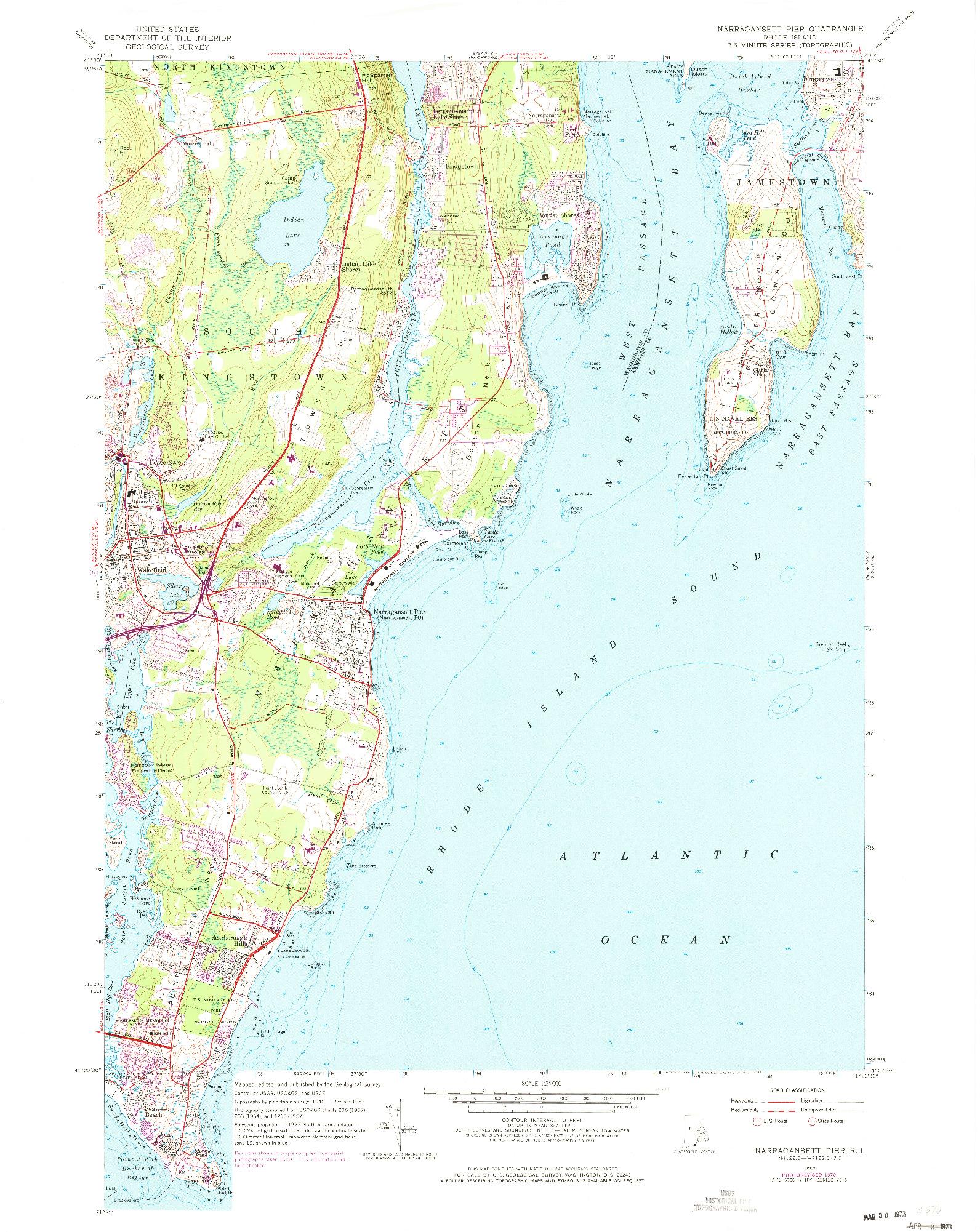 USGS 1:24000-SCALE QUADRANGLE FOR NARRAGANSETT PIER, RI 1957