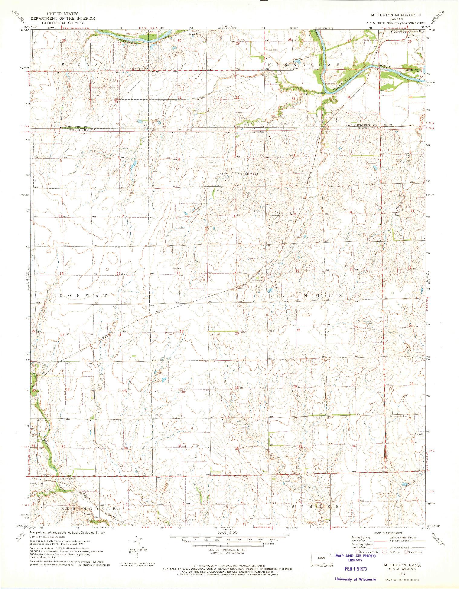 USGS 1:24000-SCALE QUADRANGLE FOR MILLERTON, KS 1971