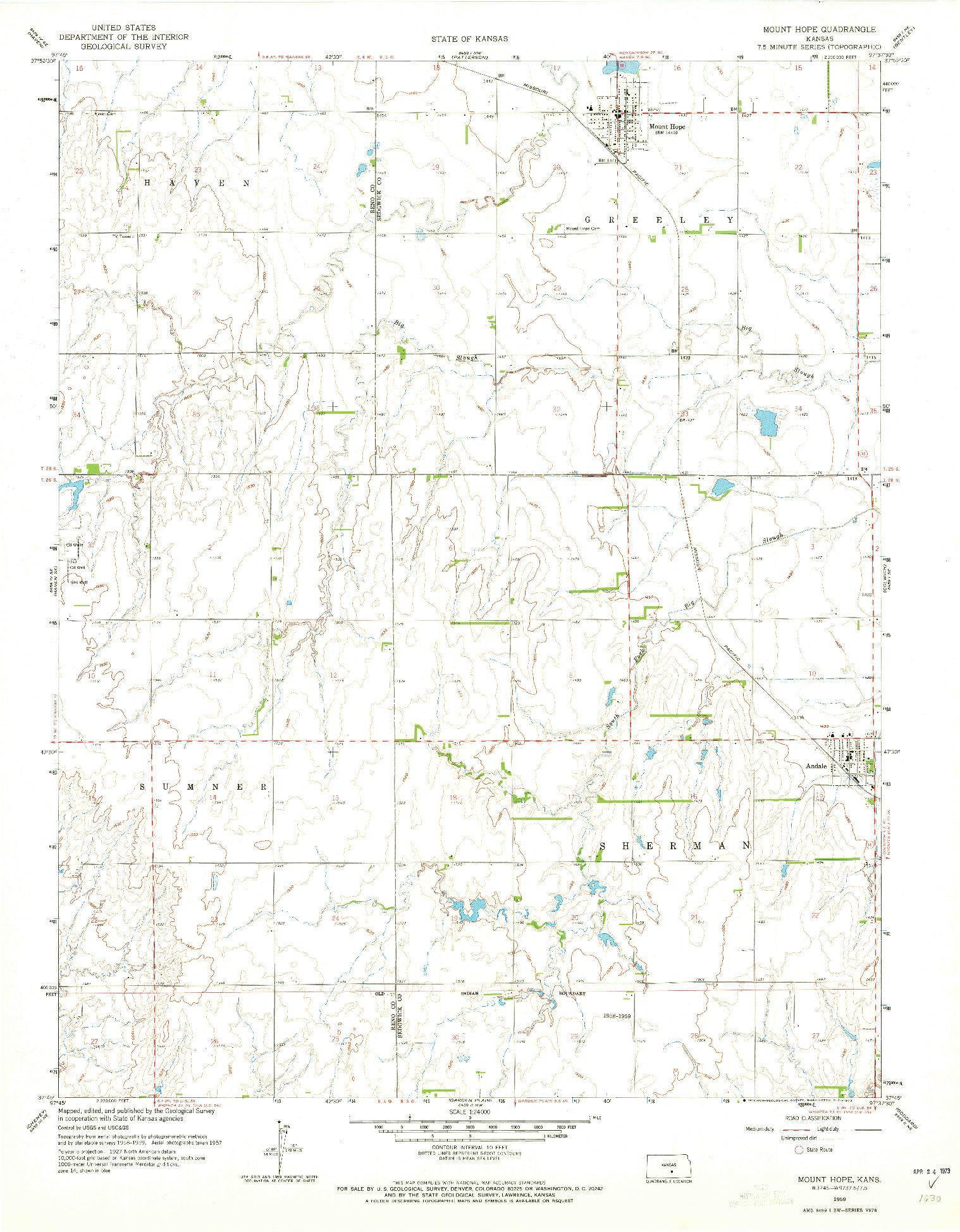 USGS 1:24000-SCALE QUADRANGLE FOR MOUNT HOPE, KS 1959