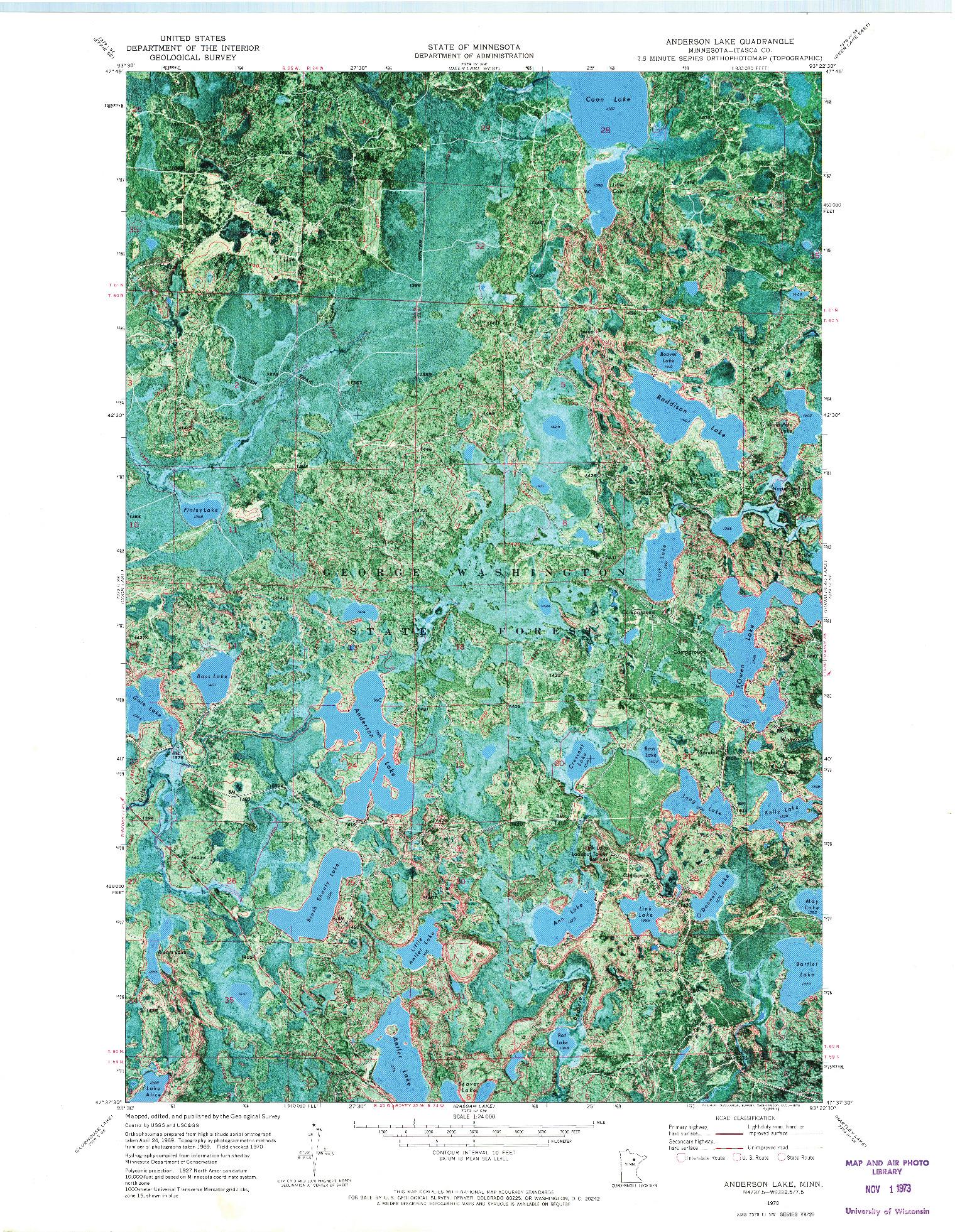 USGS 1:24000-SCALE QUADRANGLE FOR ANDERSON LAKE, MN 1970