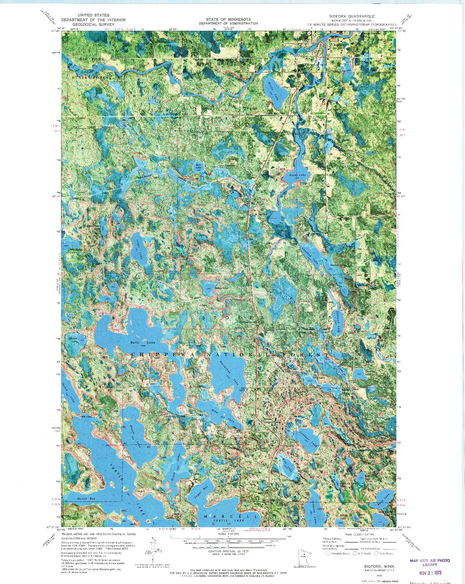 USGS 1:24000-SCALE QUADRANGLE FOR BIGFORK, MN 1970