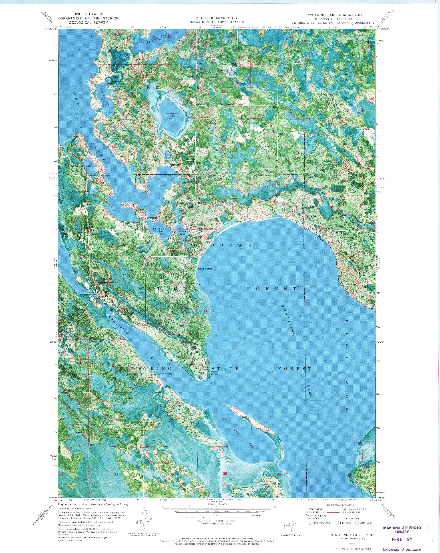 USGS 1:24000-SCALE QUADRANGLE FOR BOWSTRING LAKE, MN 1970
