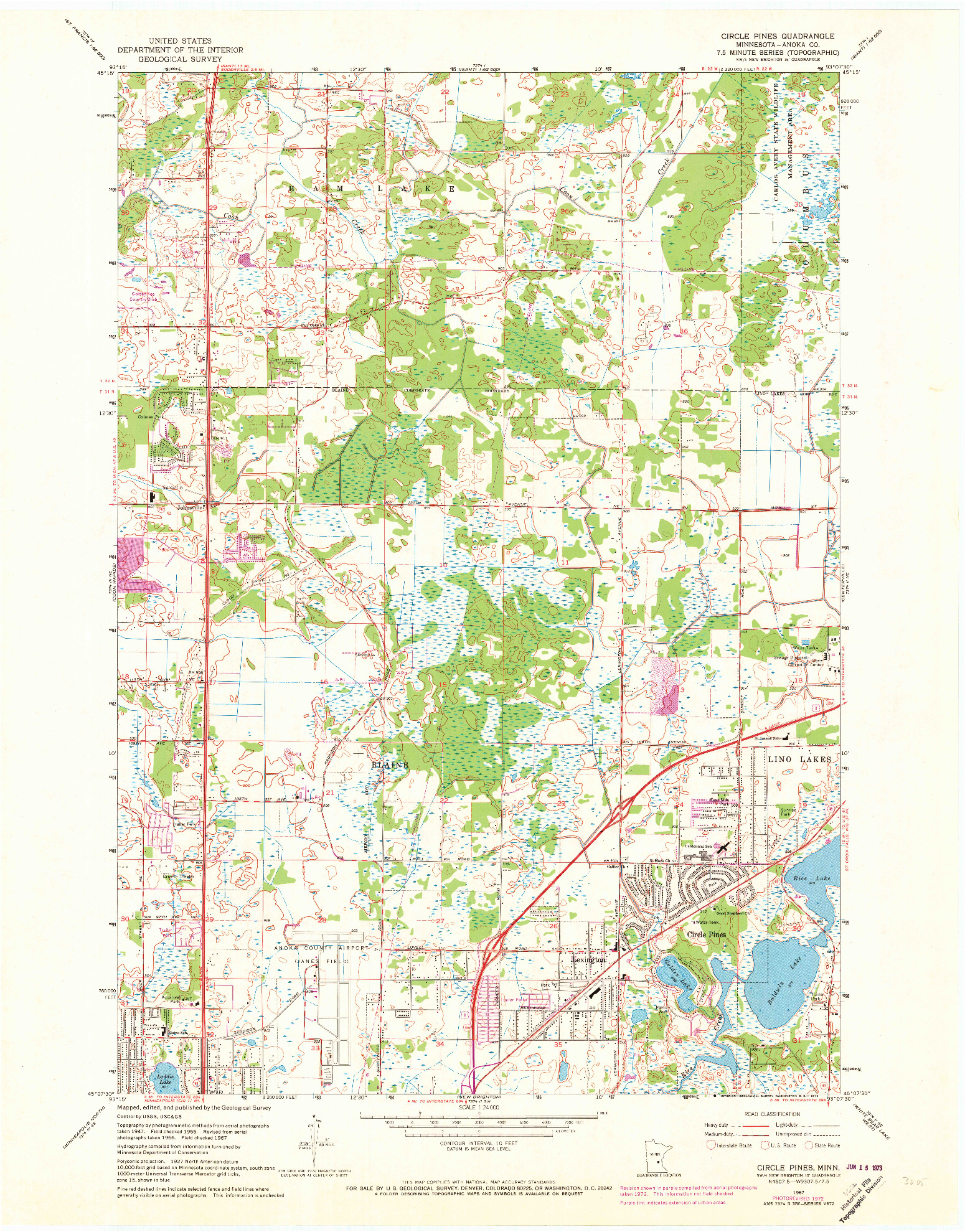 USGS 1:24000-SCALE QUADRANGLE FOR CIRCLE PINES, MN 1967