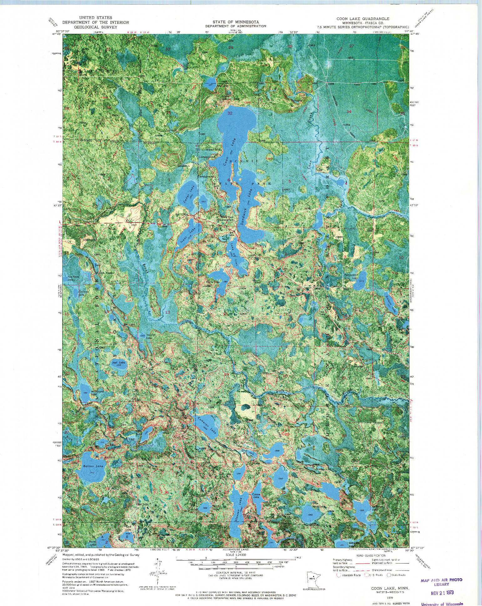 USGS 1:24000-SCALE QUADRANGLE FOR COON LAKE, MN 1970