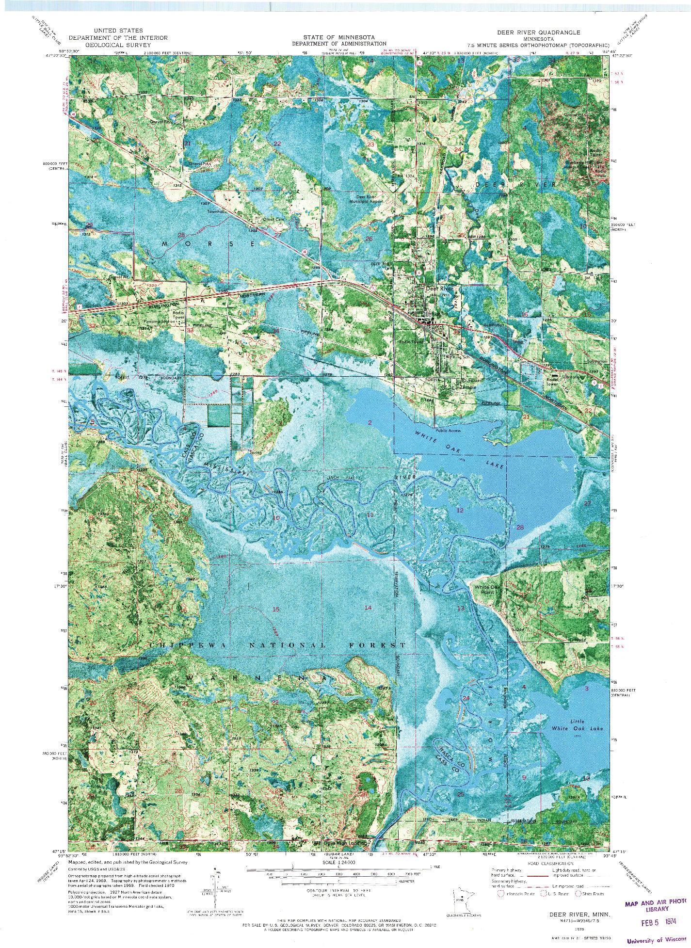 USGS 1:24000-SCALE QUADRANGLE FOR DEER RIVER, MN 1970