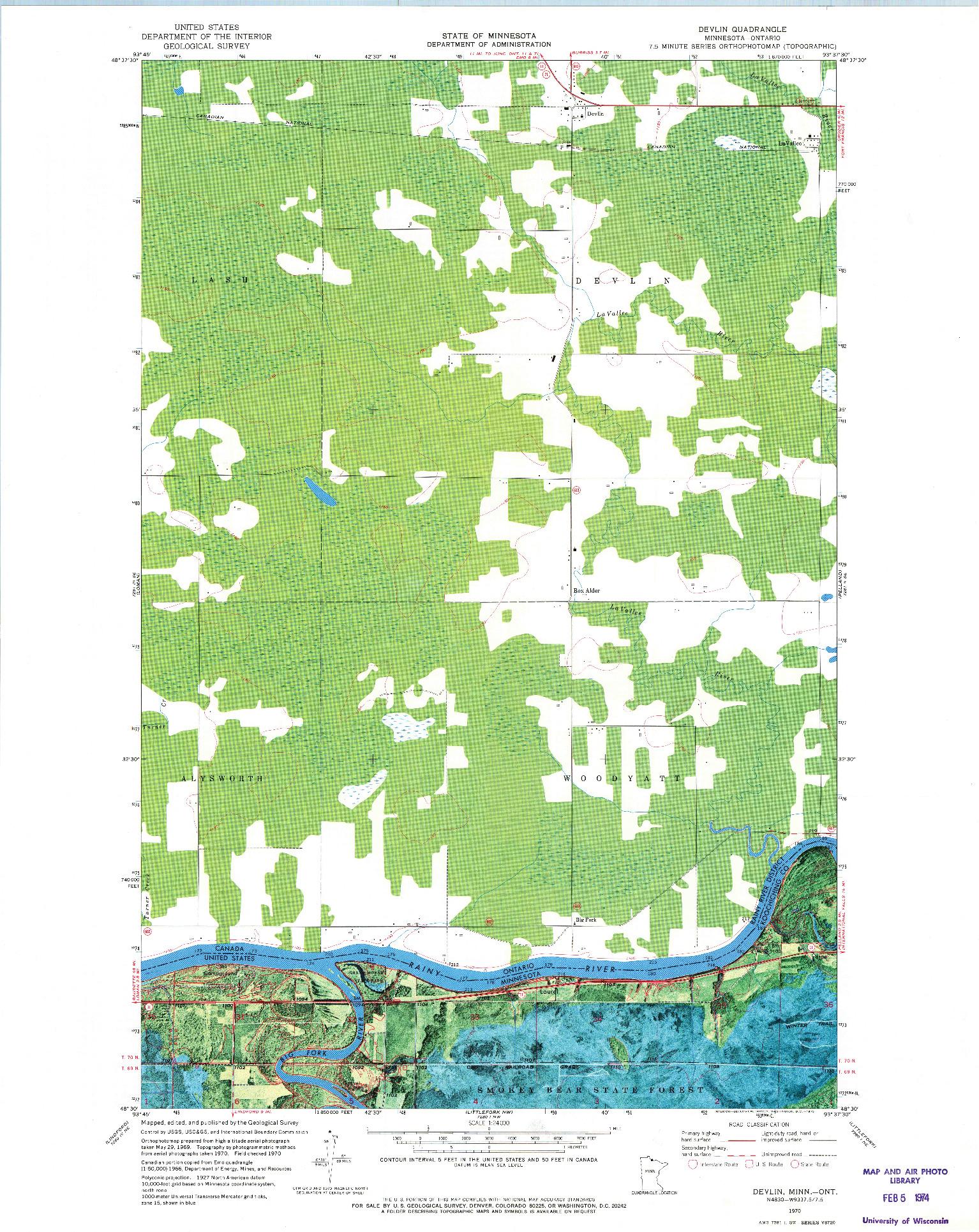 USGS 1:24000-SCALE QUADRANGLE FOR DEVLIN, MN 1970